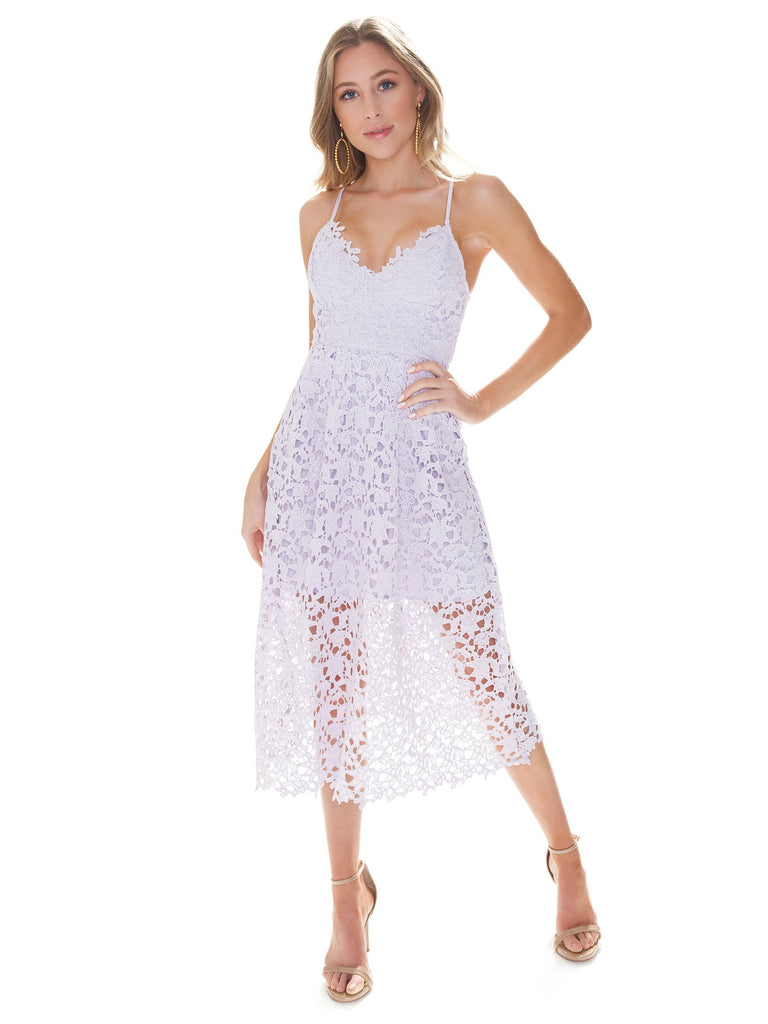 Women wearing a dress rental from ASTR called Lace A Line Midi Dress