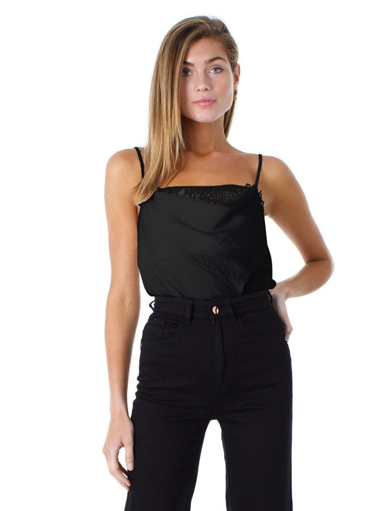 Women wearing a cami rental from 1.STATE called Lace Inset Hammered Satin Cami