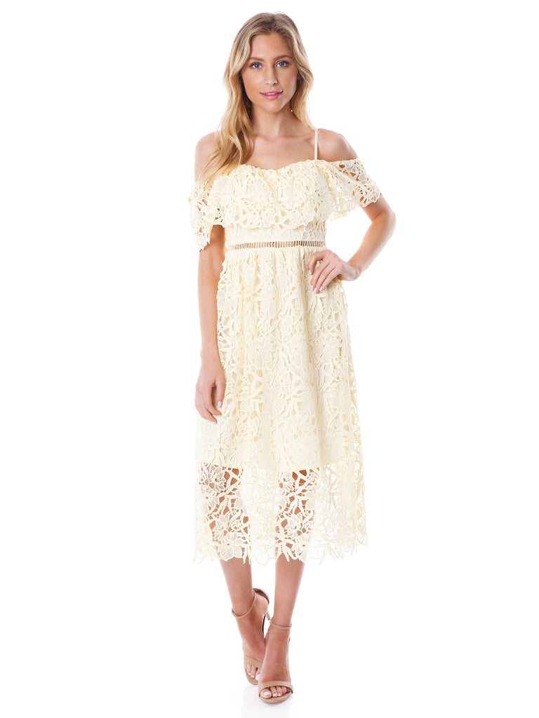 Women wearing a dress rental from ASTR called Lace Off The Shoulder Midi Dress