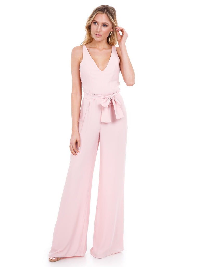 Women outfit in a jumpsuit rental from Amanda Uprichard called Cherri Gown