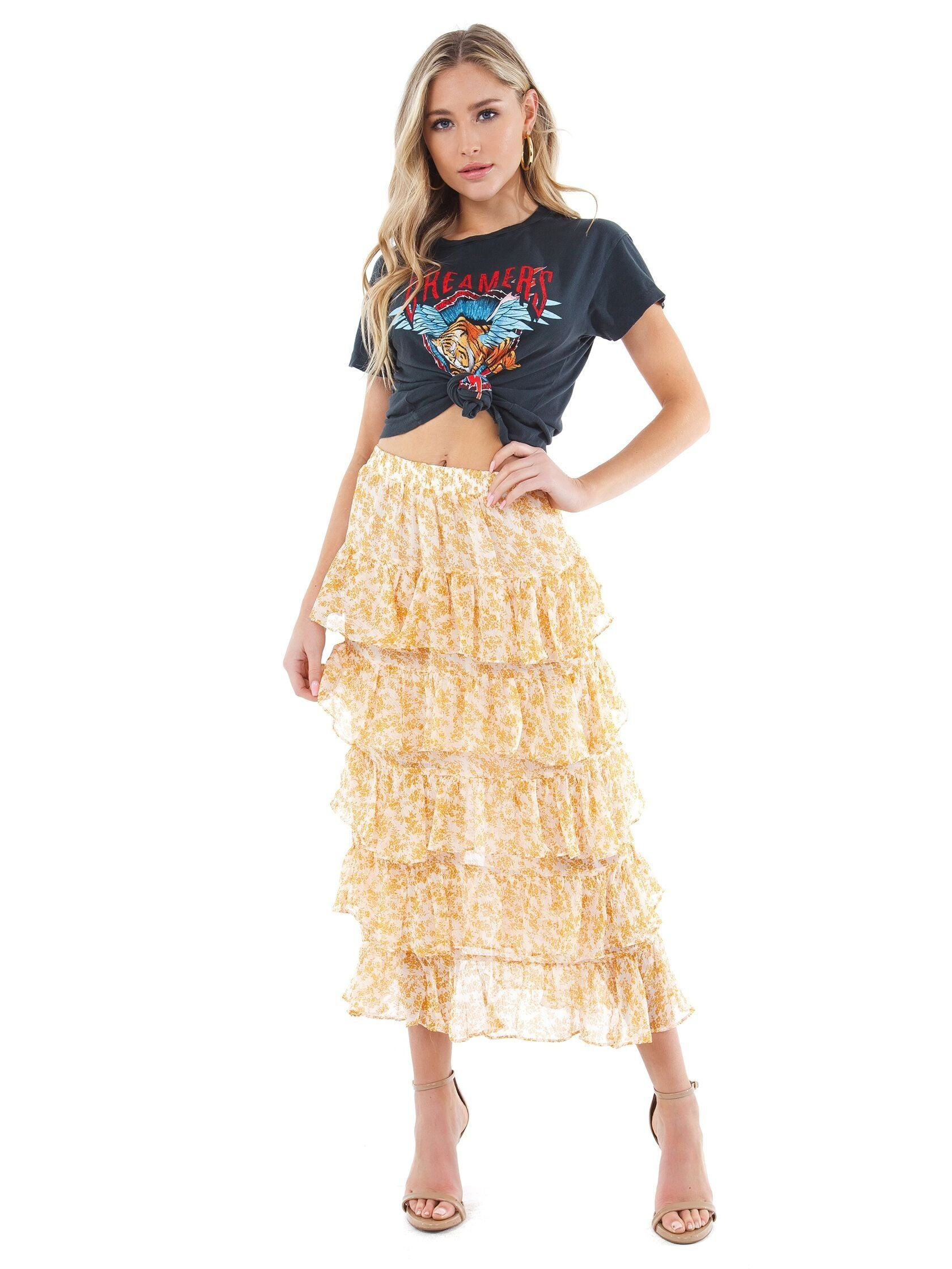 Girl wearing a skirt rental from MINKPINK called Lana Tiered Midi Skirt