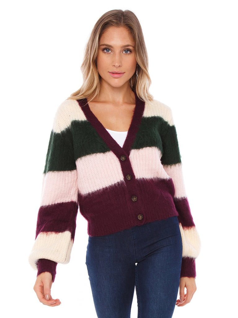 Women wearing a sweater rental from FashionPass called Lauren Striped Sweater