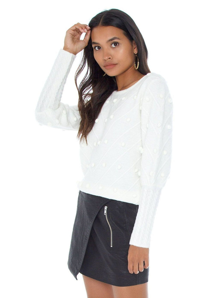 Women wearing a sweater rental from Line & Dot called Elle Long Sleeve Snap Front Shirt