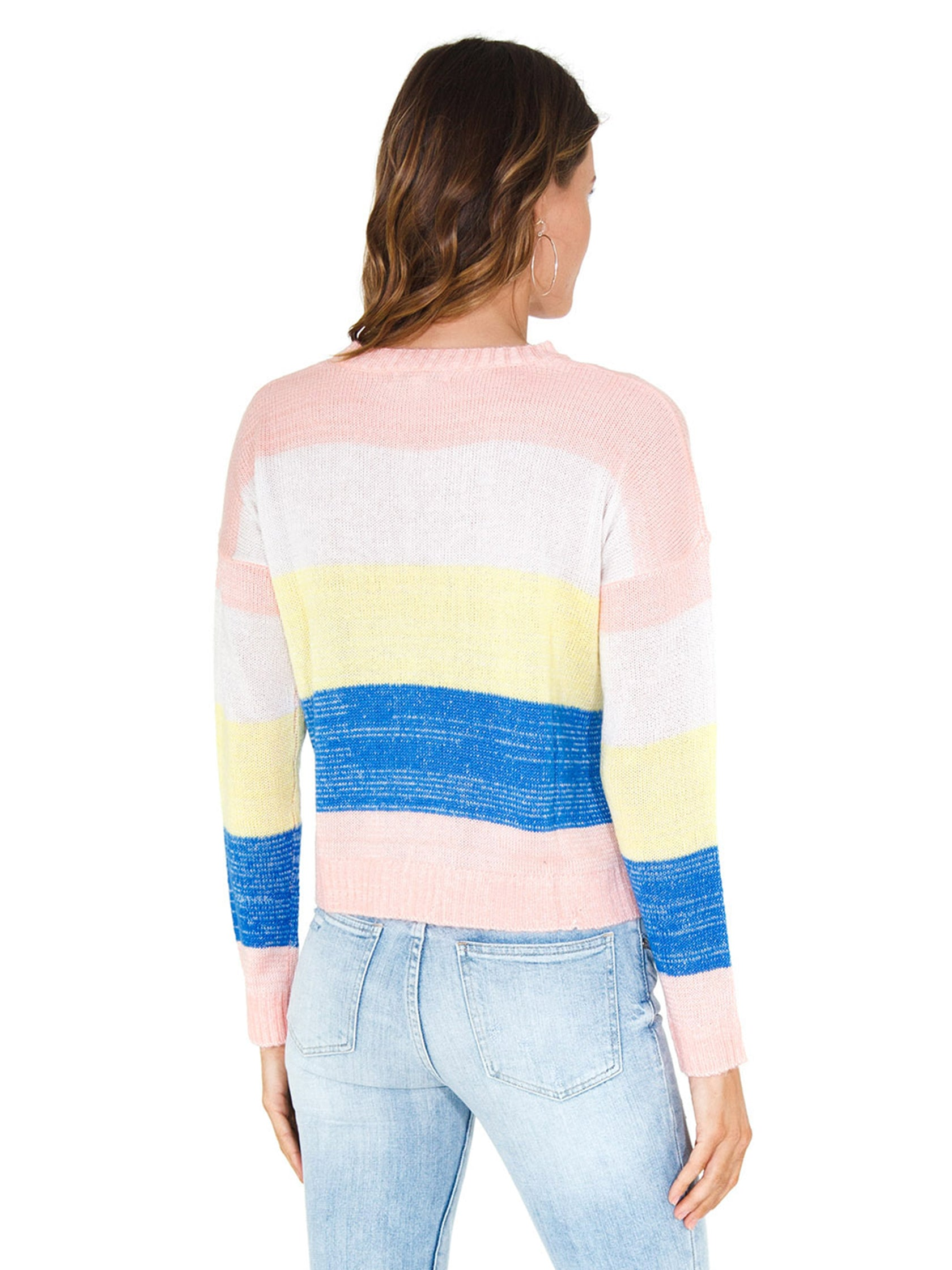 Women outfit in a sweater rental from FLETCH called Lemon Stripe Sweater