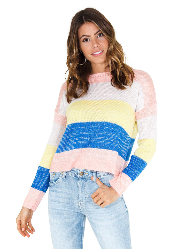 Girl wearing a sweater rental from FLETCH called Blue Reversible Bomber