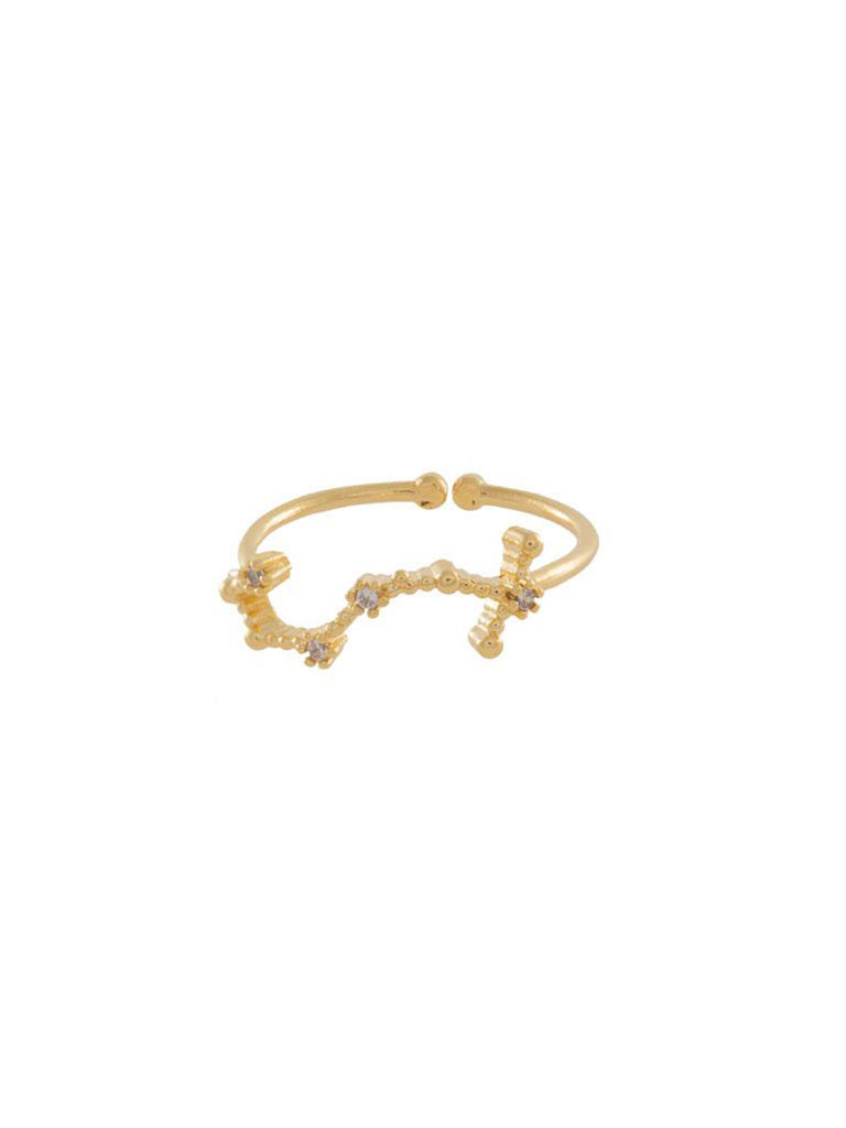 Women wearing a ring rental from Wanderlust + Co called Zodiac Gold Ring (select Your Sign)