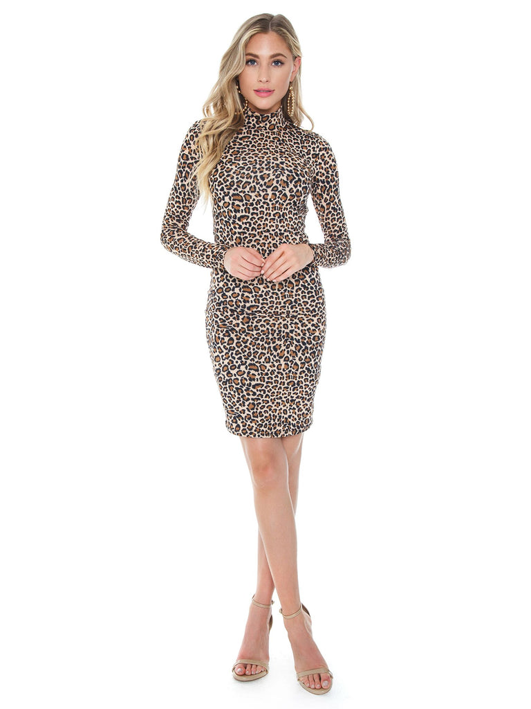 Women wearing a dress rental from BARDOT called Leopard High Neck Dress