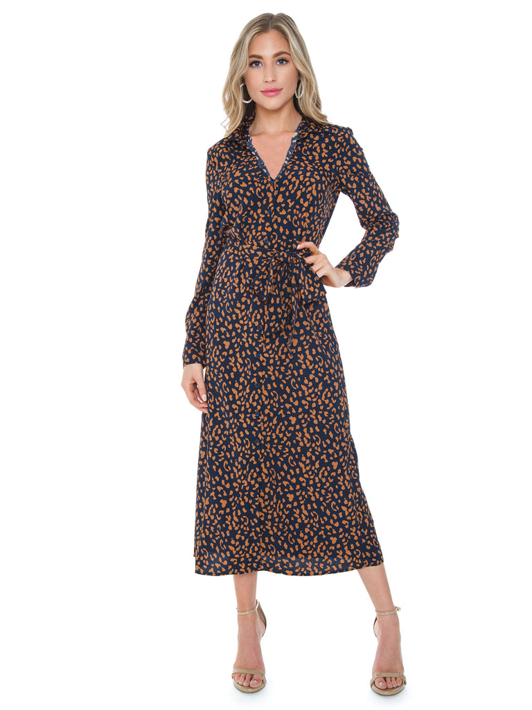 Women wearing a dress rental from BARDOT called Leopard Shirt Dress