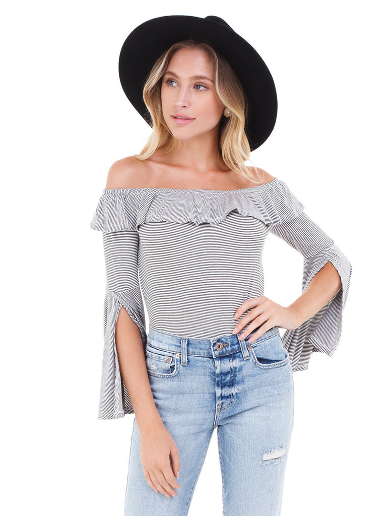 Woman wearing a top rental from BB Dakota called Laurel Canyon Drawstring Top