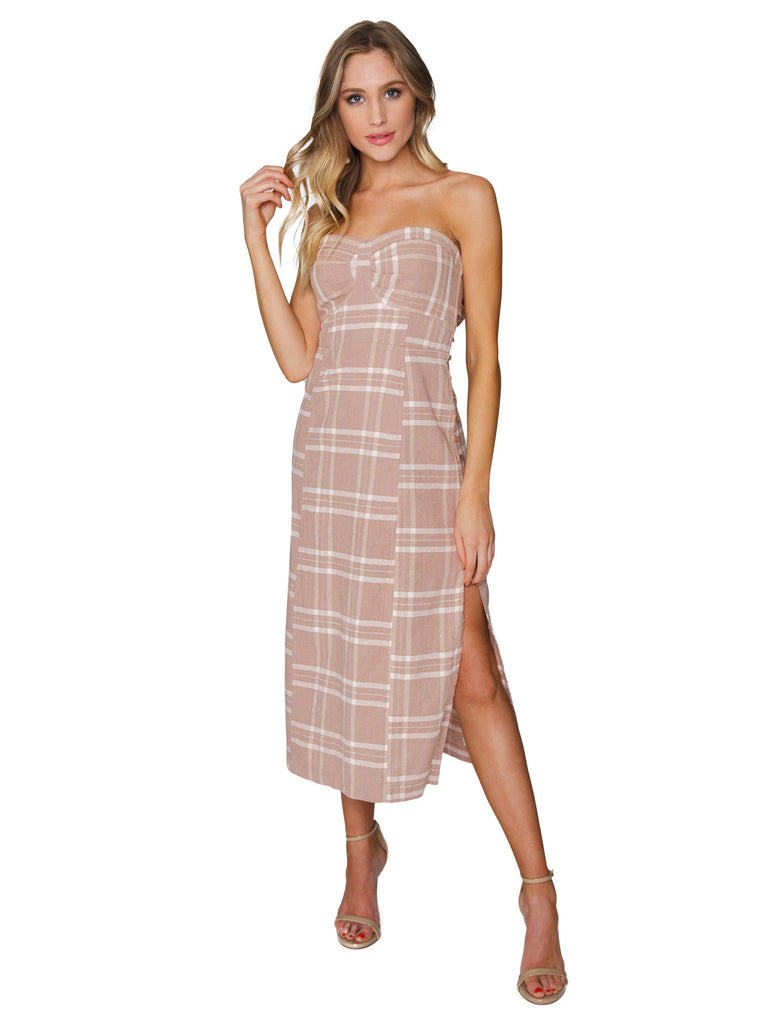 Woman wearing a dress rental from Free People called Adella Slip Dress