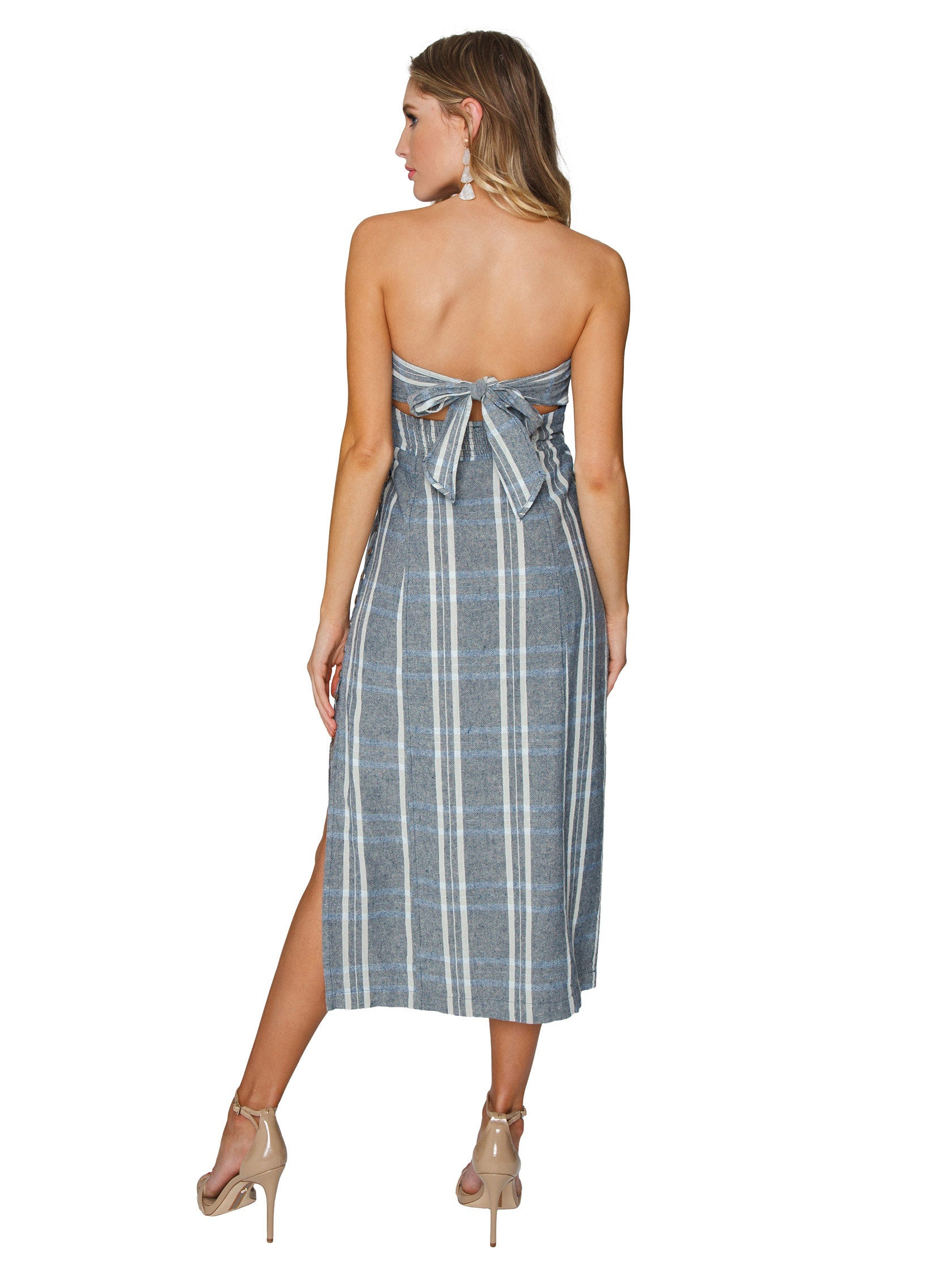 Women wearing a dress rental from Free People called Life Like This Plaid Dress