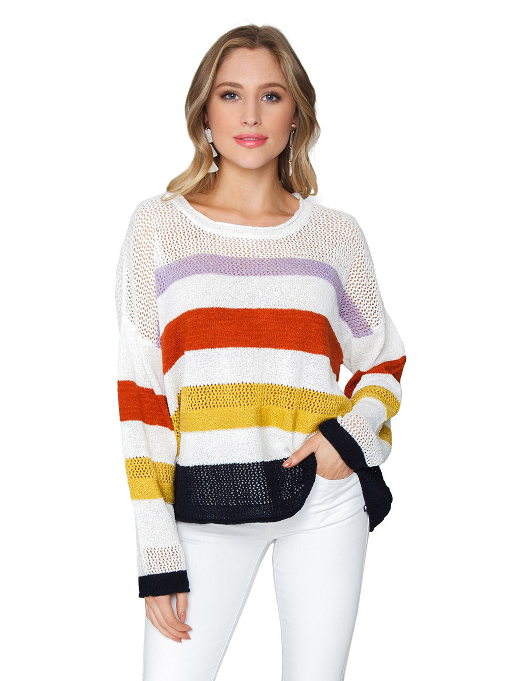 Woman wearing a sweater rental from FashionPass called Lightweight Stripe Sweater