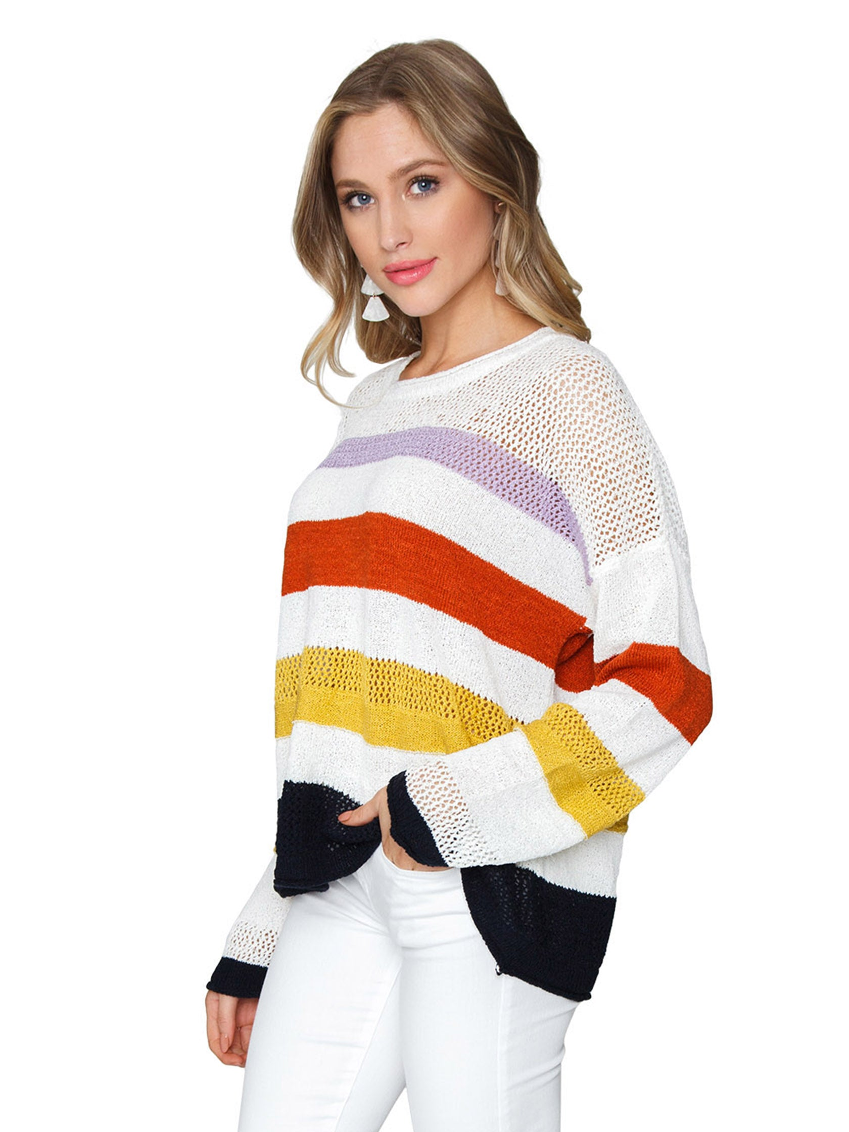 Women wearing a sweater rental from FashionPass called Lightweight Stripe Sweater