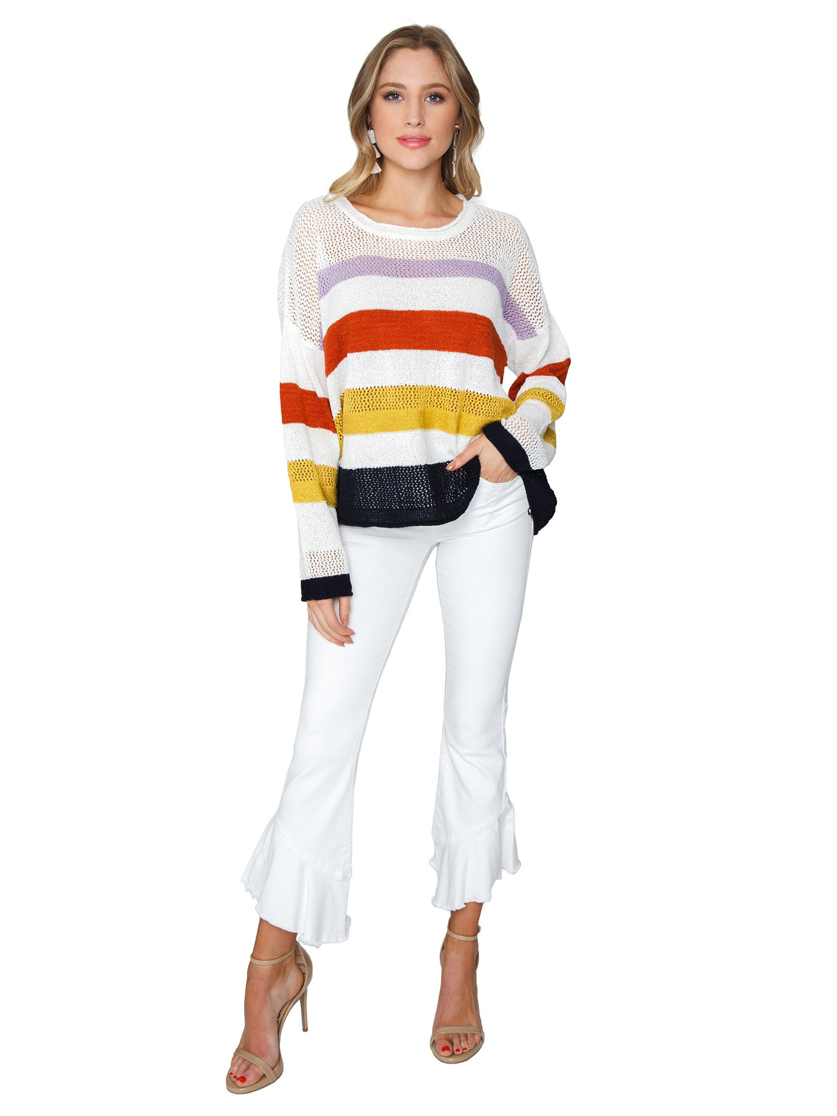 Girl wearing a sweater rental from FashionPass called Lightweight Stripe Sweater