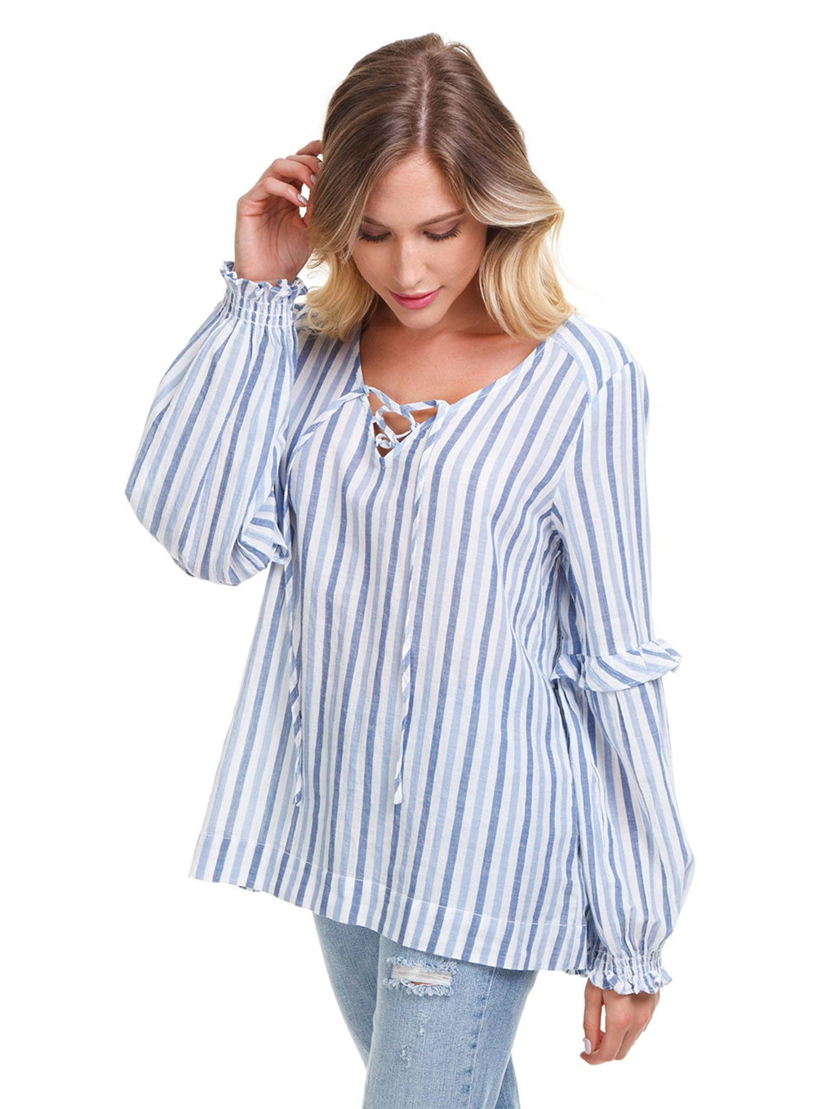 Women wearing a top rental from SANCTUARY called Lila Lace Up Ruffle Sleeve Blouse