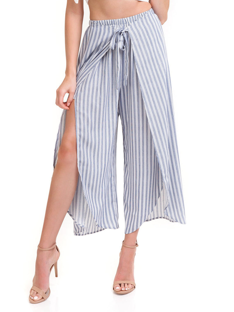 Women wearing a pants rental from Show Me Your Mumu called Moby Tie Maxi - Tiki Time Gauze