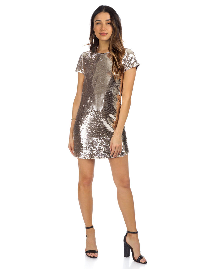 Women wearing a dress rental from Line & Dot called Soleil Sequin Dress