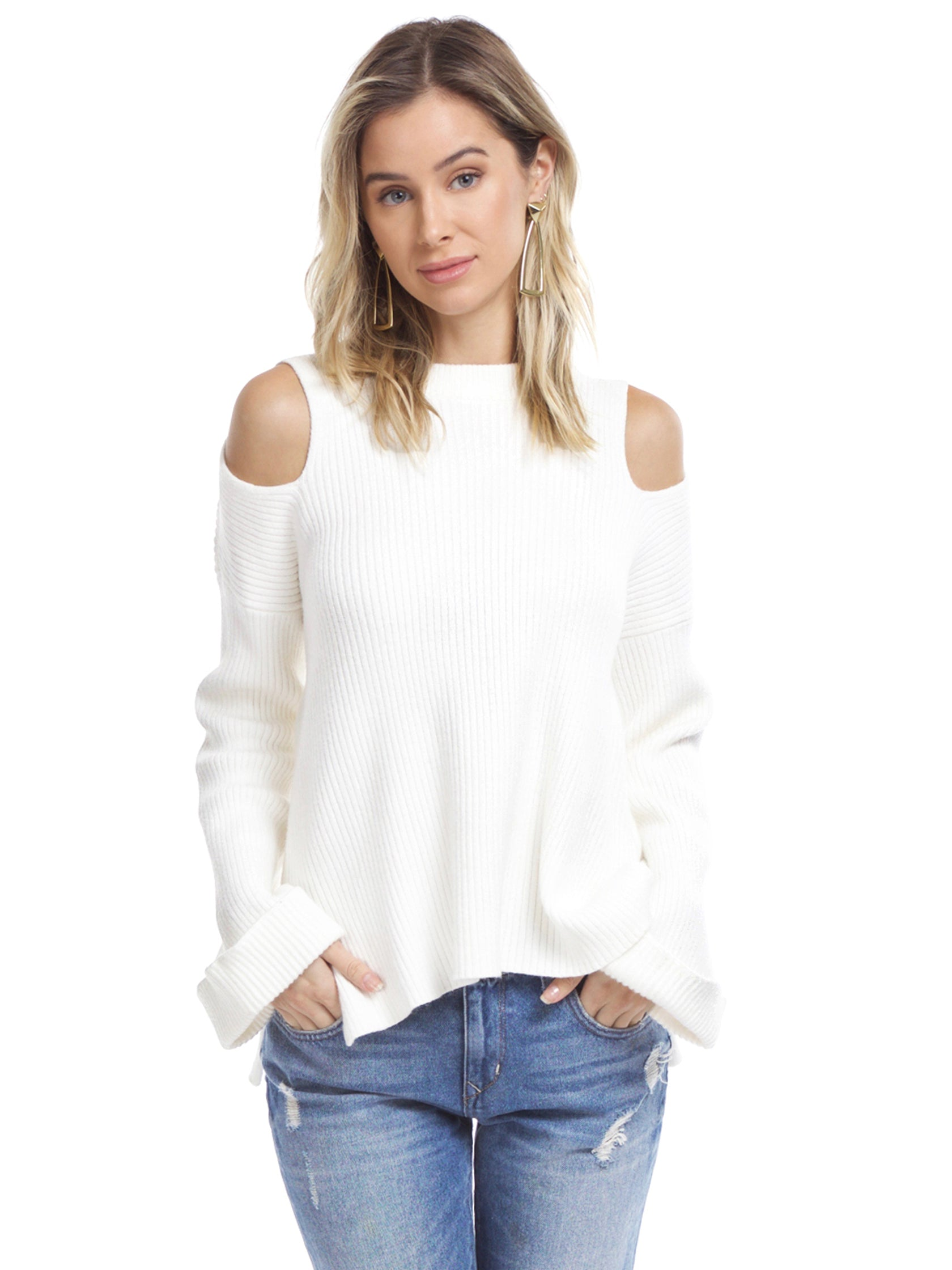 Woman wearing a sweater rental from Line & Dot called Trou Cold Shoulder Sweater