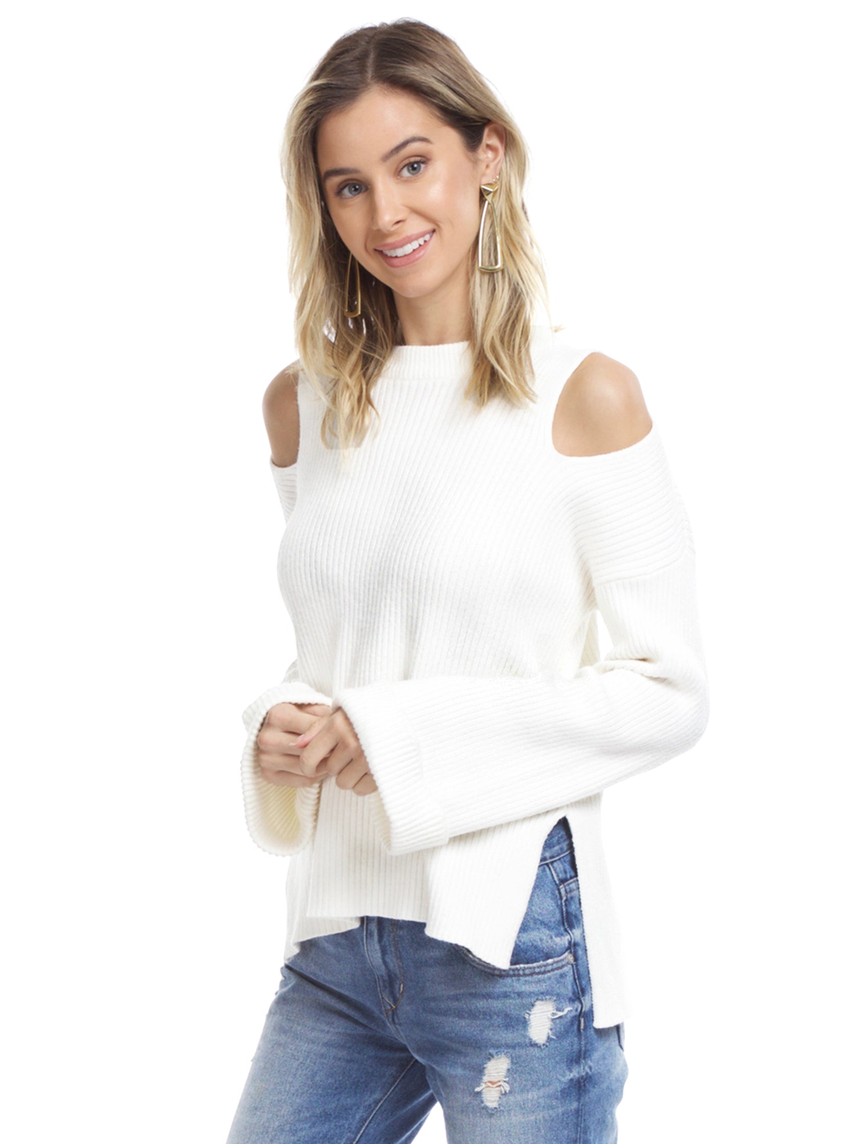 Women wearing a sweater rental from Line & Dot called Trou Cold Shoulder Sweater