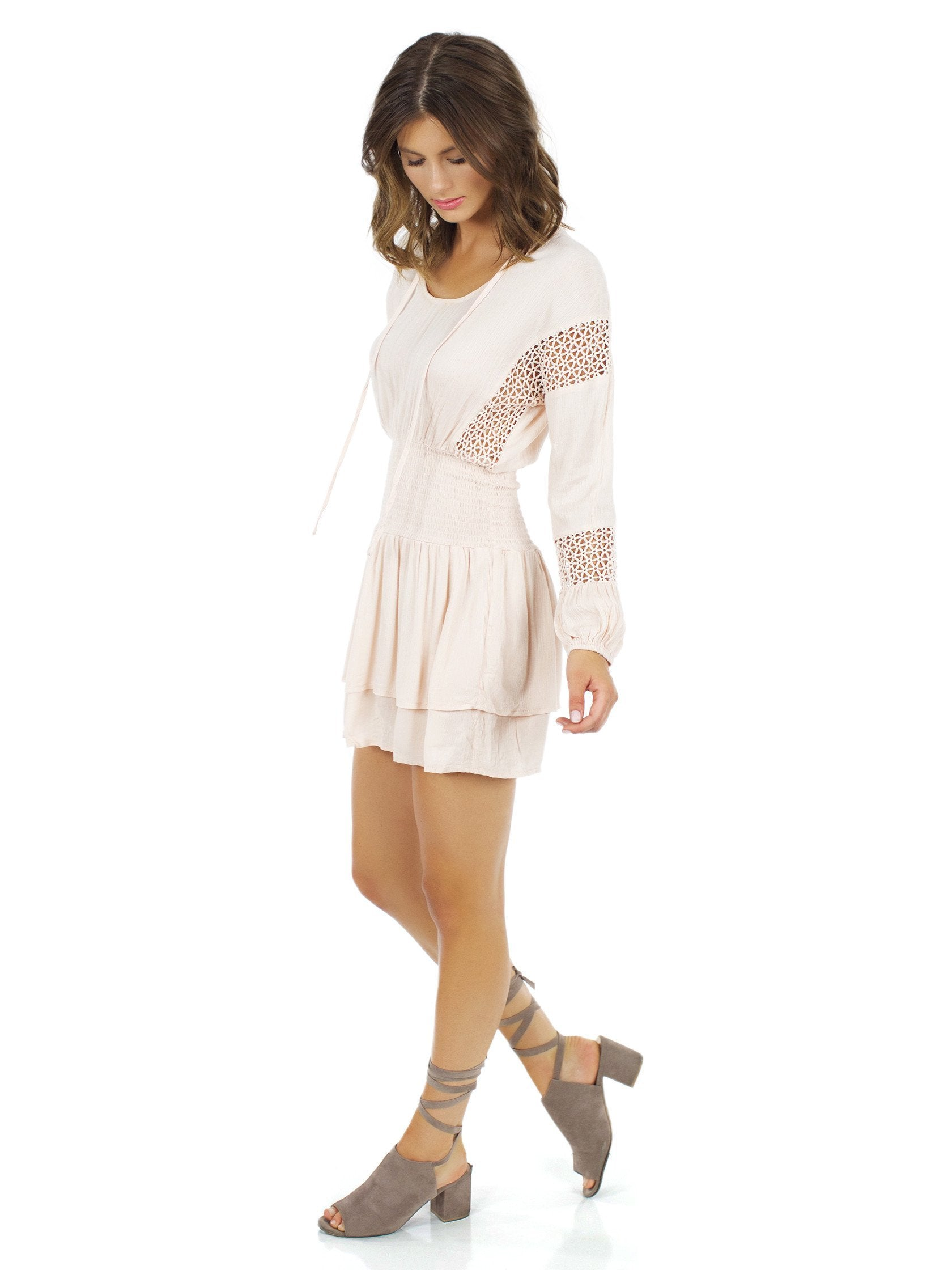 Woman wearing a dress rental from Lost In Lunar called Escape Tunic Dress