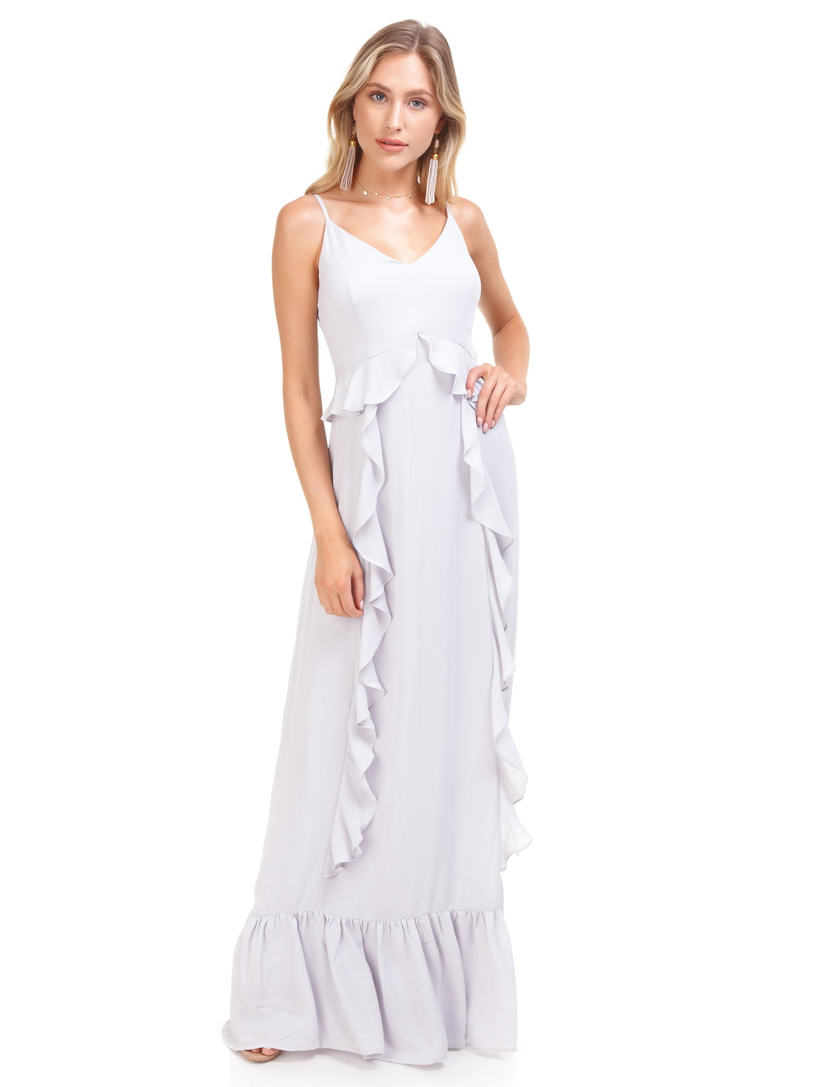 Girl outfit in a dress rental from WAYF called Loyal Ruffle Empire Tiered Maxi