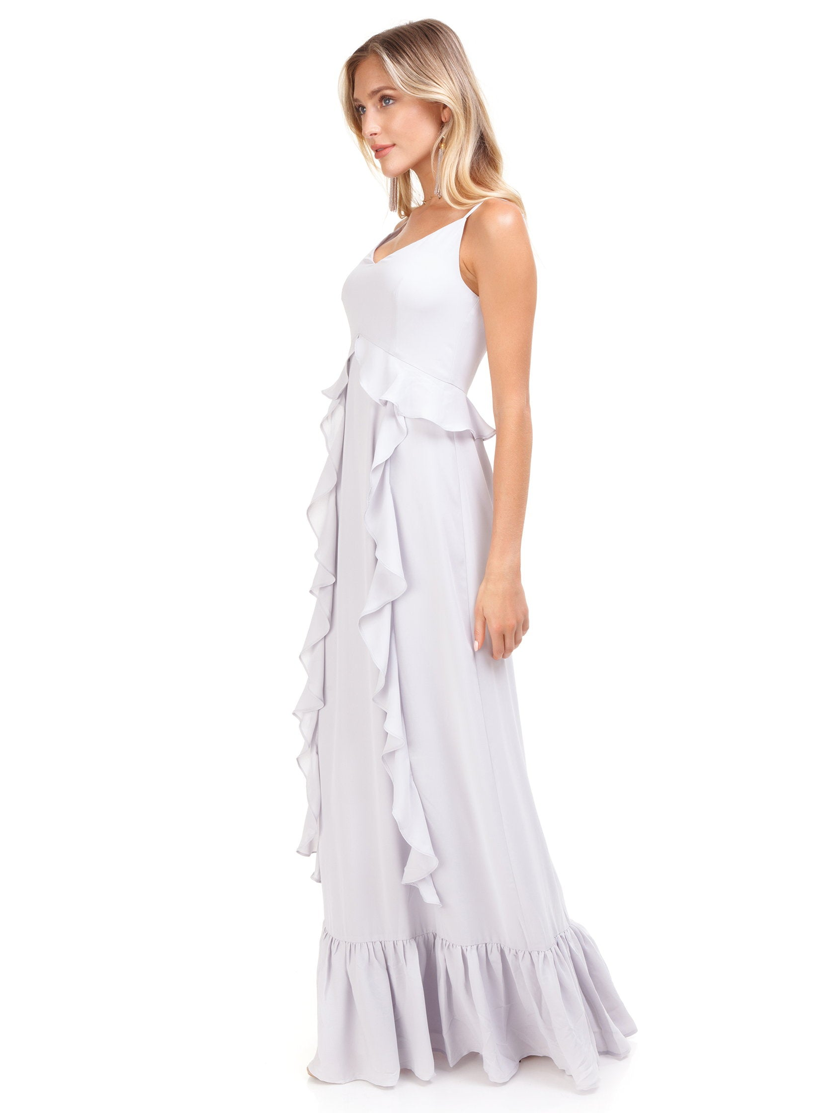 Woman wearing a dress rental from WAYF called Loyal Ruffle Empire Tiered Maxi