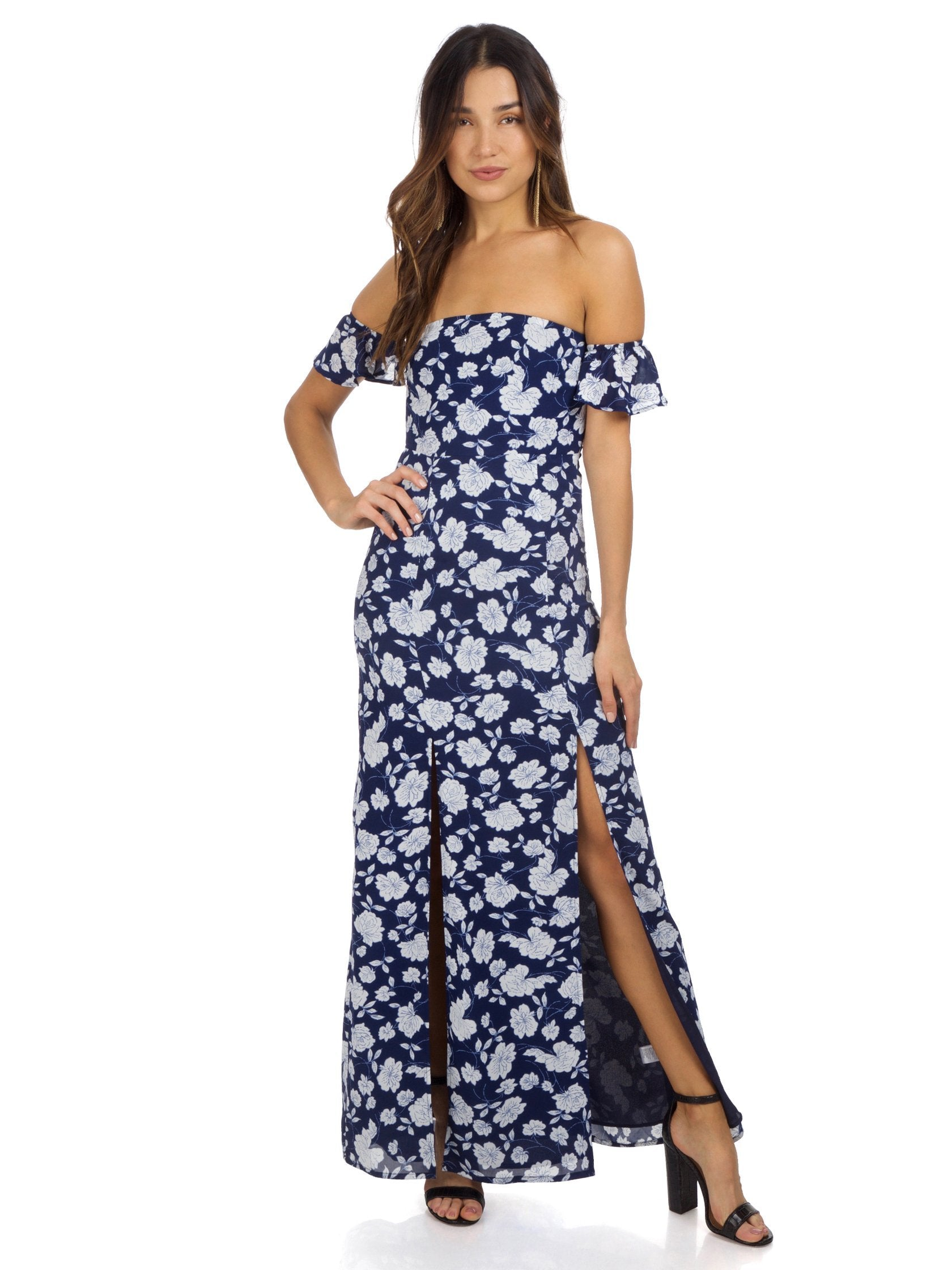 Girl outfit in a dress rental from Lucca Couture called Off Shoulder Maxi Dress