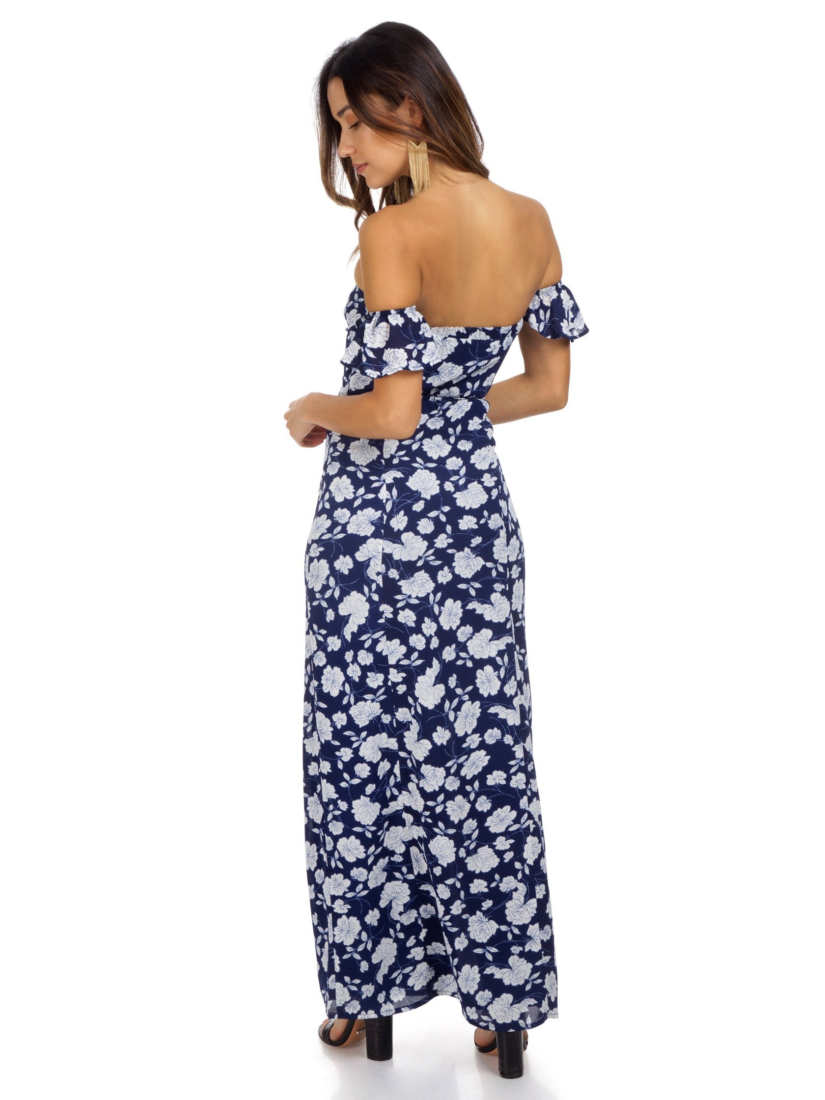 Women wearing a dress rental from Lucca Couture called Off Shoulder Maxi Dress