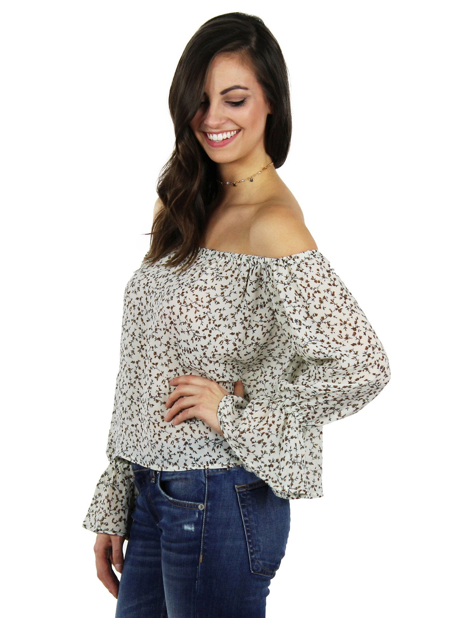 Women wearing a top rental from Lucca Couture called Off Shoulder Ruffle Sleeve Top