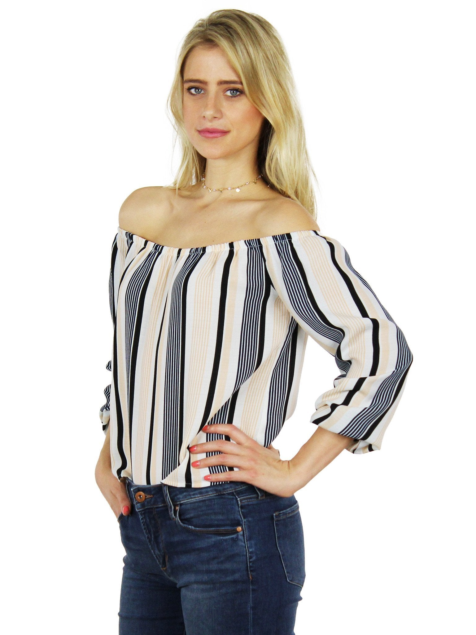 Girl outfit in a top rental from Lucca Couture called Stripes Are The New Black Blouse