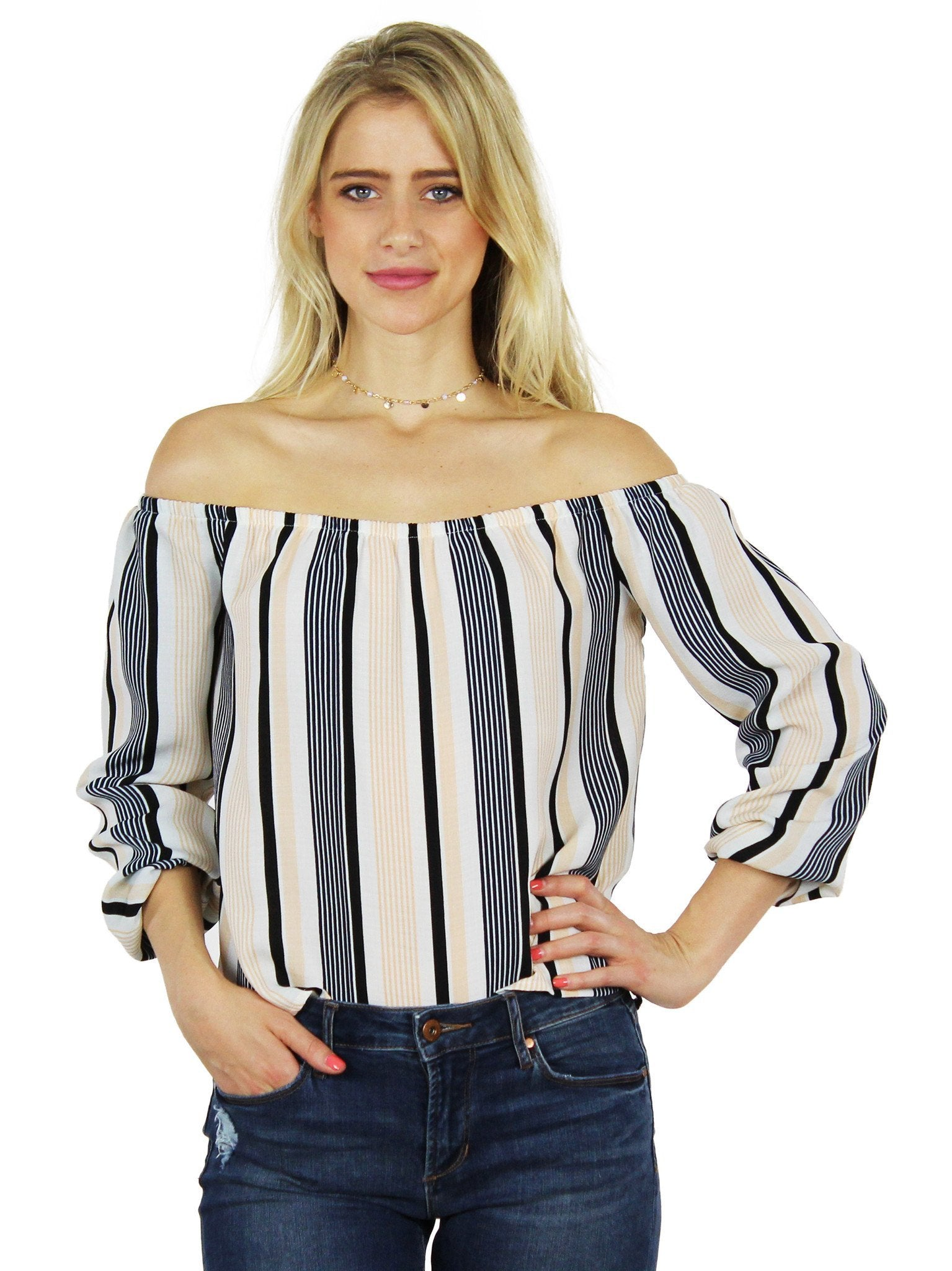 Woman wearing a top rental from Lucca Couture called Stripes Are The New Black Blouse