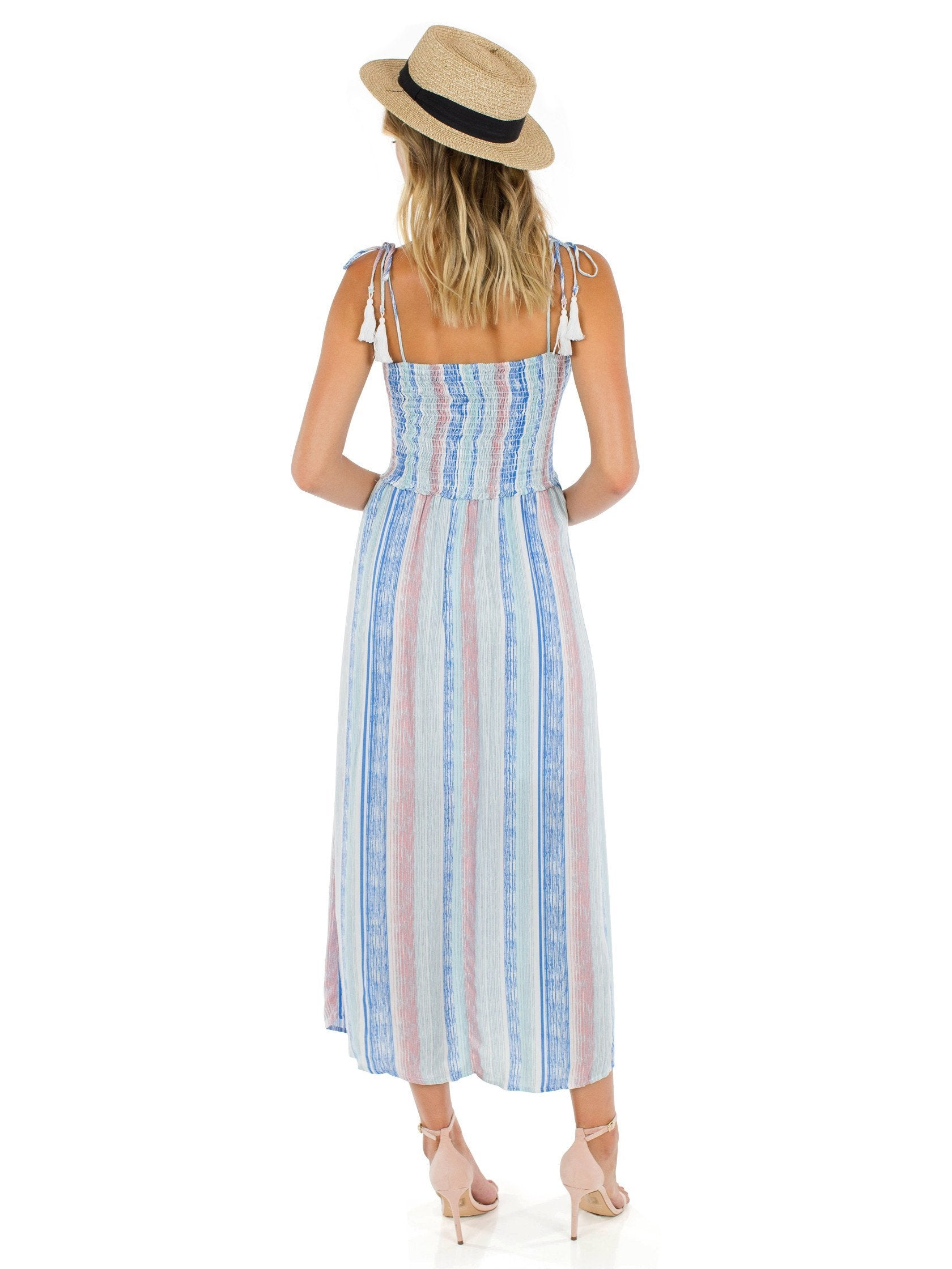 Women wearing a dress rental from Lush called Off Into The Sunset Dress