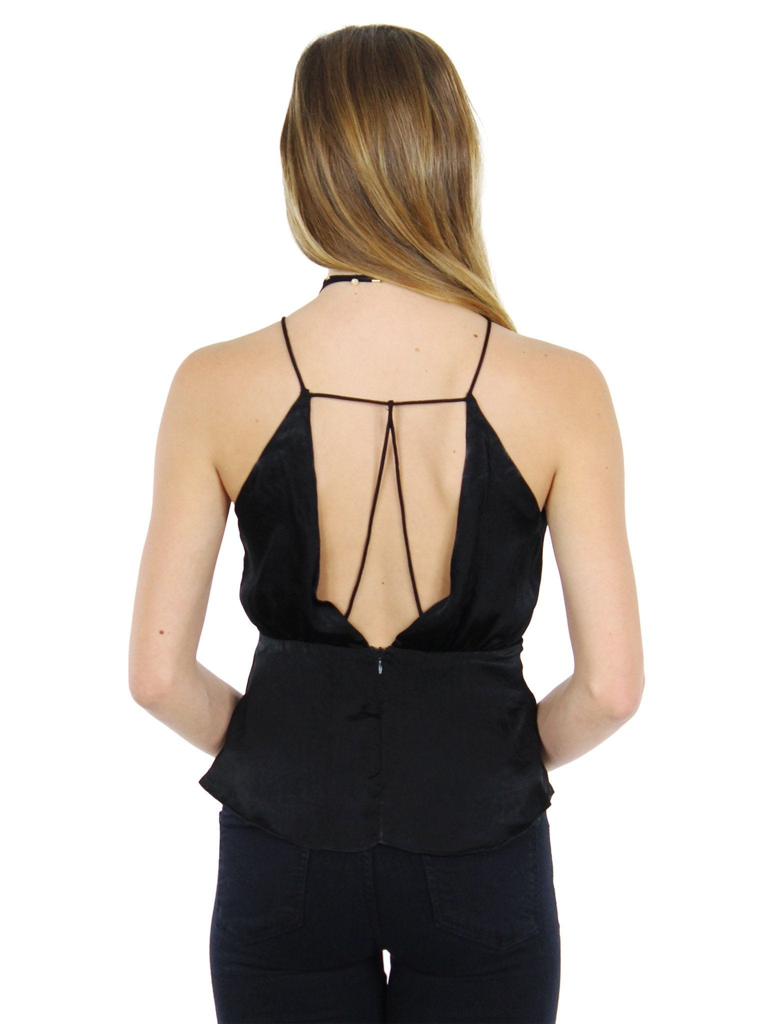 Woman wearing a top rental from Lush called One Fine Evening Black Satin Top