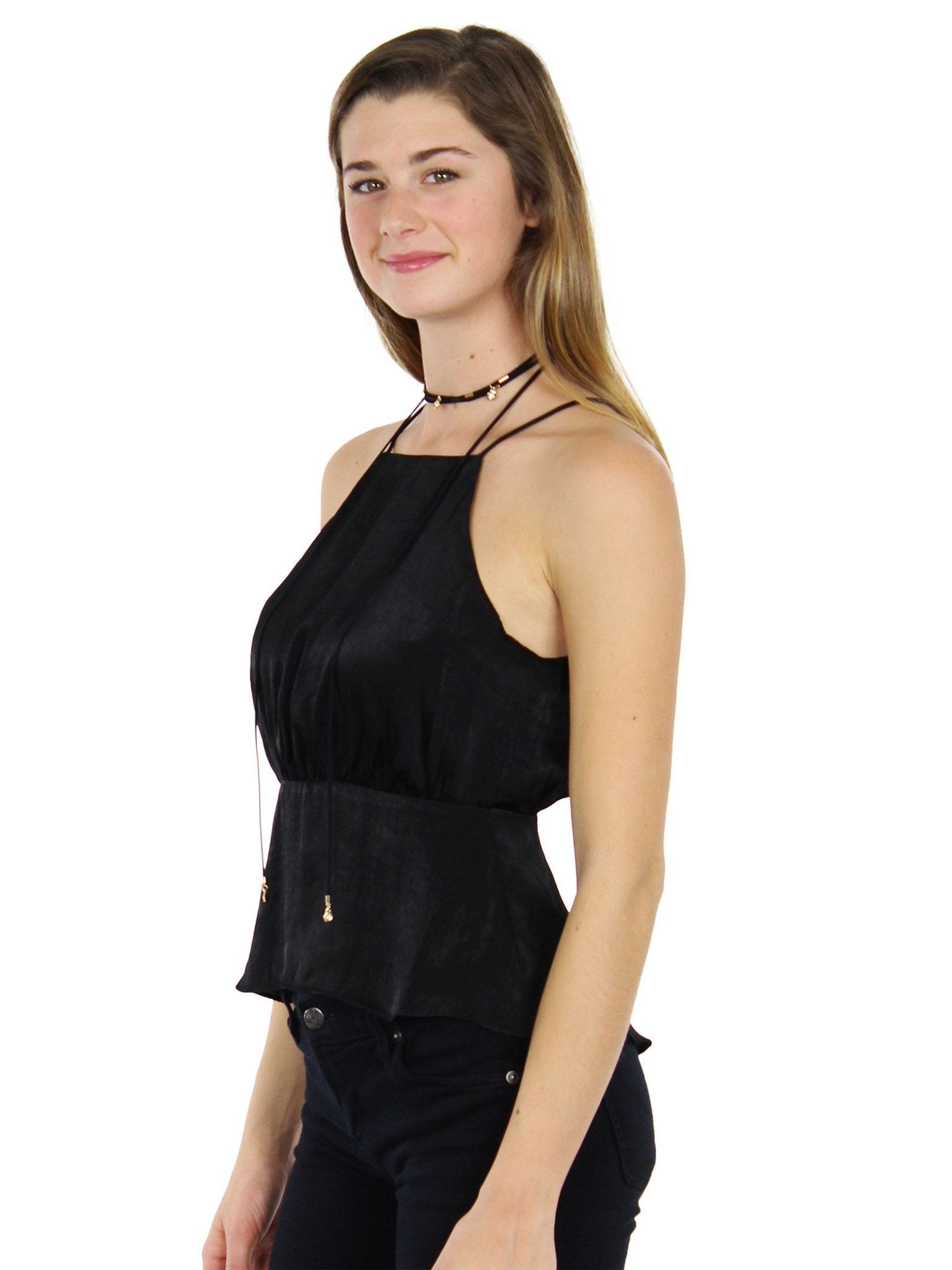 Women wearing a top rental from Lush called One Fine Evening Black Satin Top