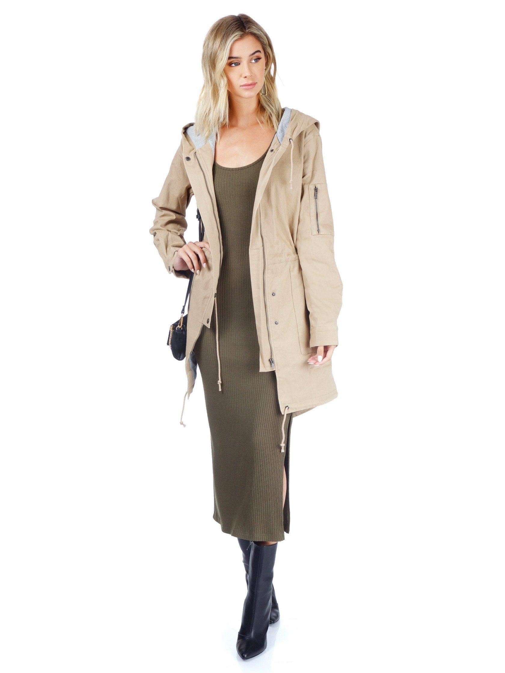 Women wearing a jacket rental from Lush called Tan Cargo Jacket