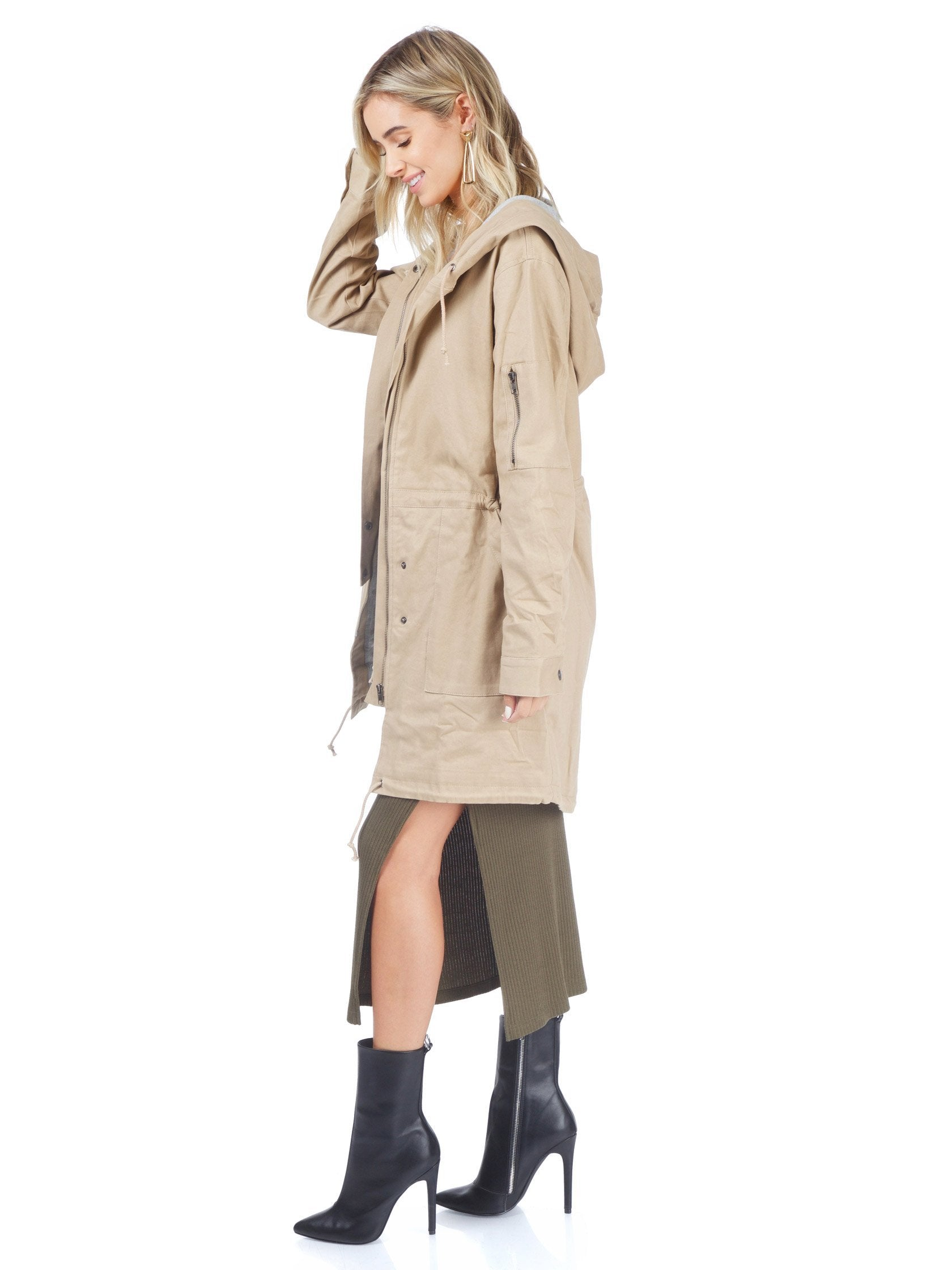 Girl outfit in a jacket rental from Lush called Tan Cargo Jacket