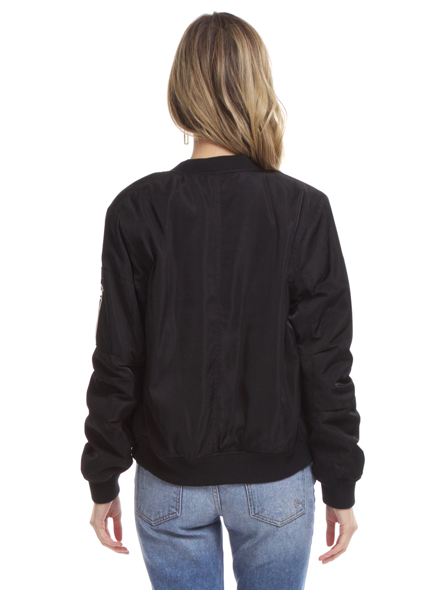 Women outfit in a jacket rental from Lush called Zip Up Bomber Jacket