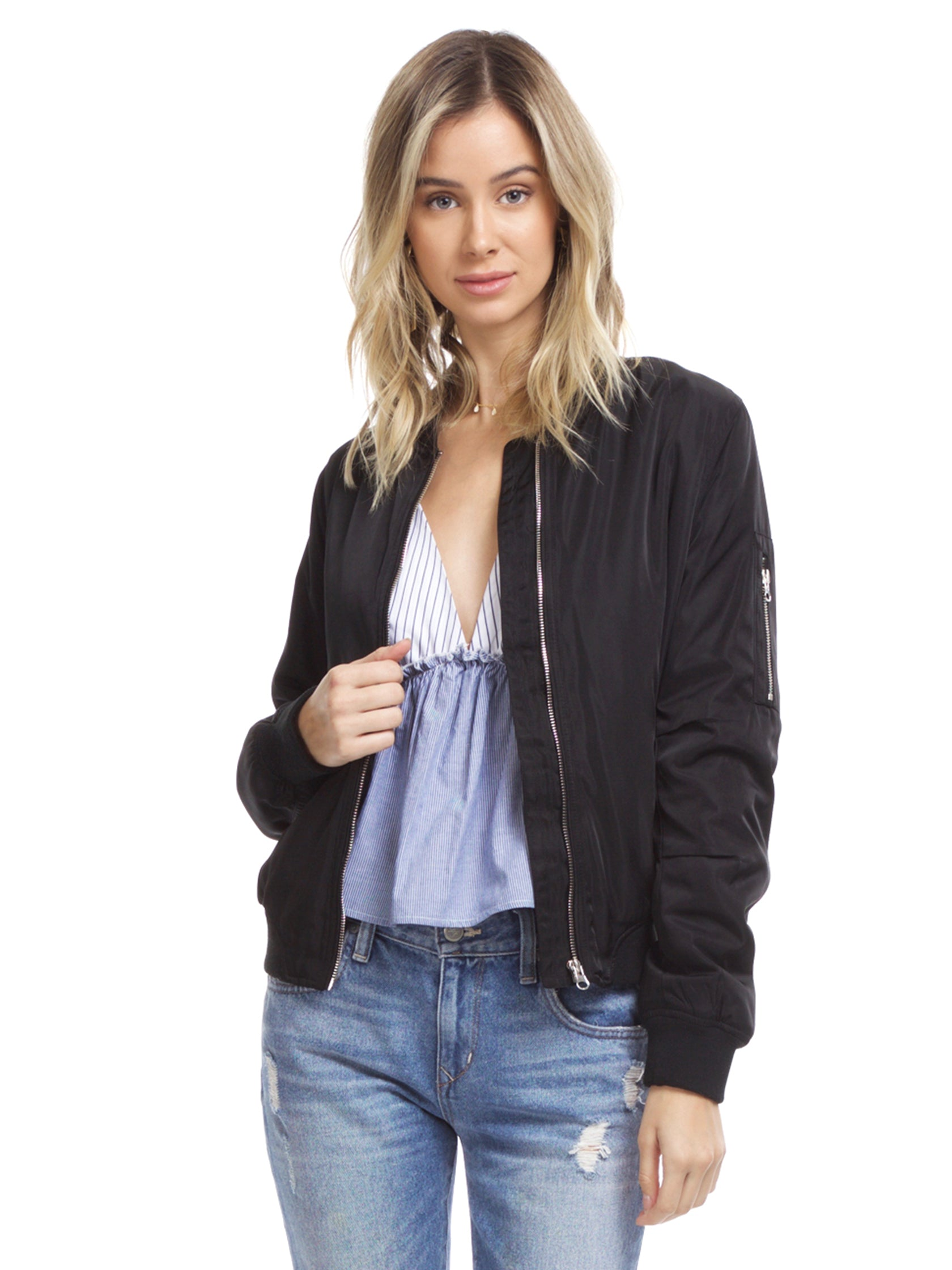 Woman wearing a jacket rental from Lush called Zip Up Bomber Jacket