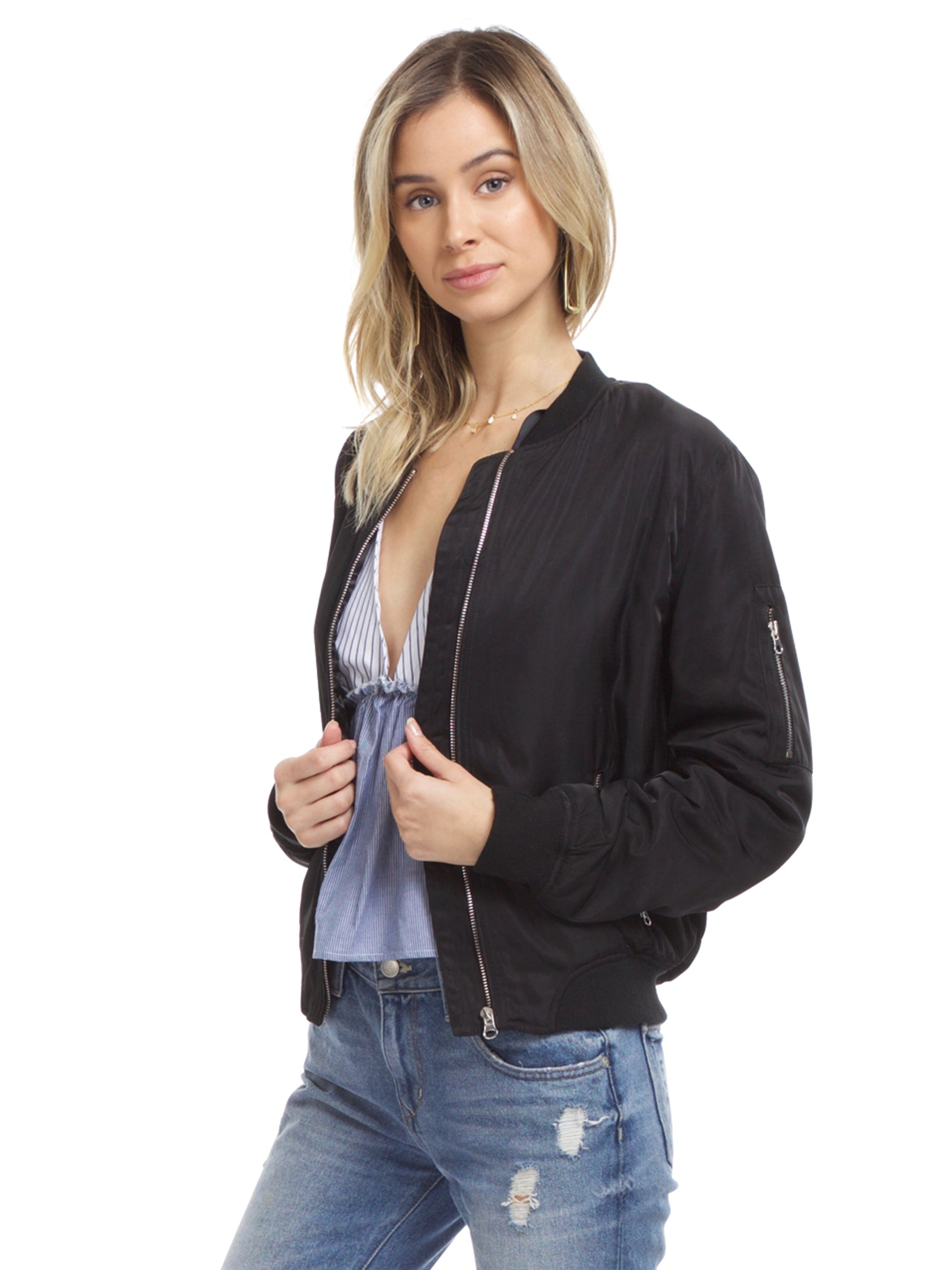 Women wearing a jacket rental from Lush called Zip Up Bomber Jacket