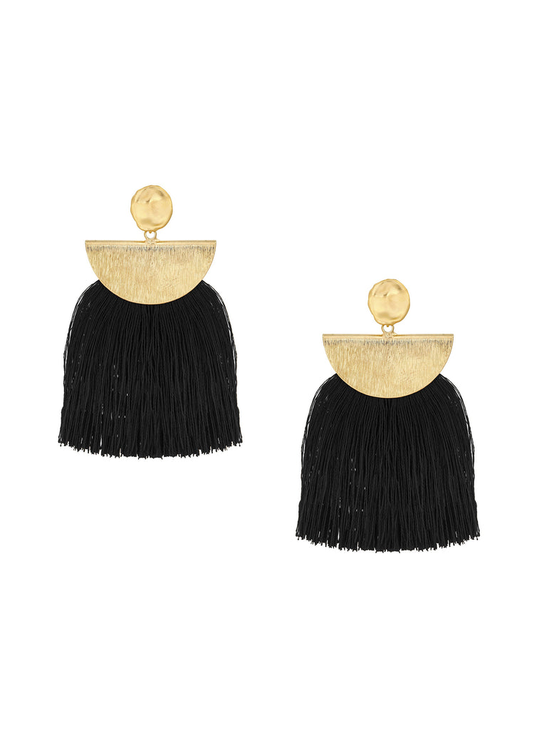 Women outfit in a earrings rental from Five and Two called Ellie Coral Tassel Earrings