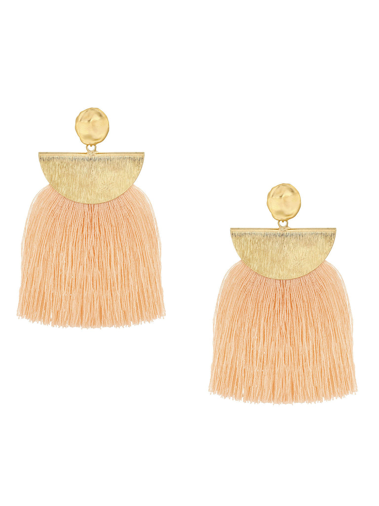 Girl outfit in a earrings rental from Five and Two called Ellie Coral Tassel Earrings