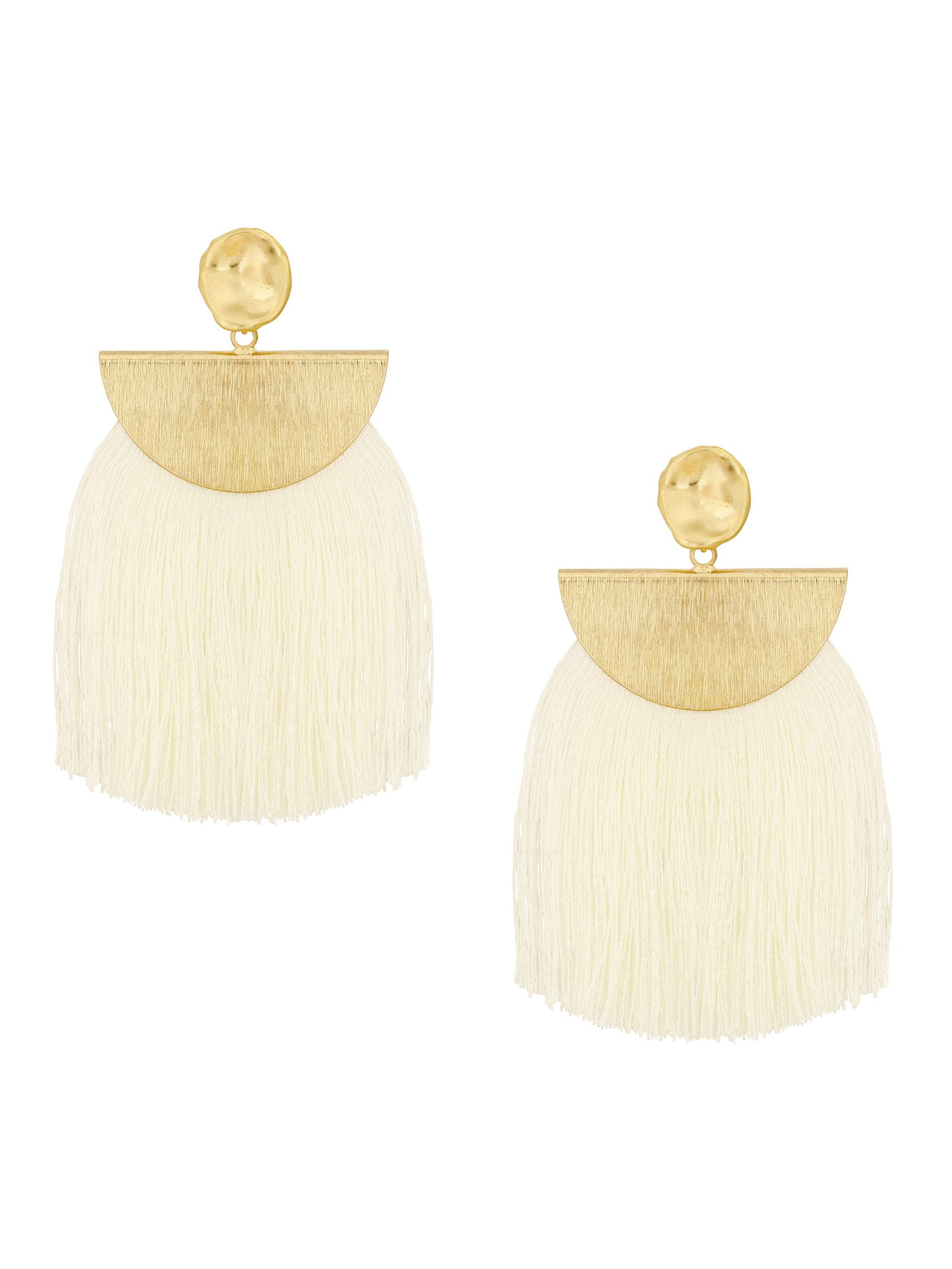 Women outfit in a earrings rental from Five and Two called Lydia Wide Tassel Fringe Earring