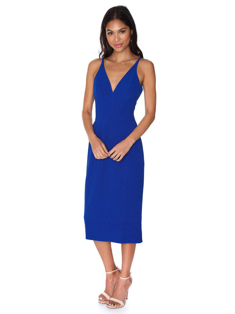 Women outfit in a dress rental from Dress the Population called Tiffany One-shoulder Midi Dress