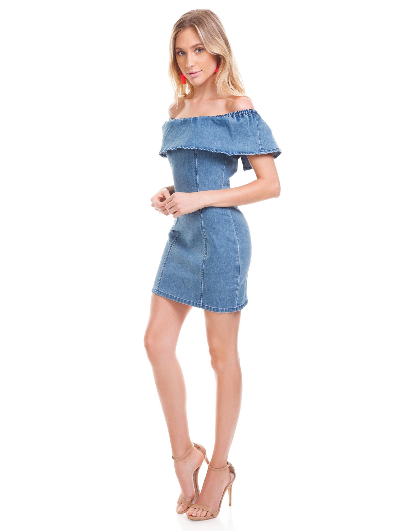 Woman wearing a dress rental from MINKPINK called Malibu Soft Ruffle Mini Dress