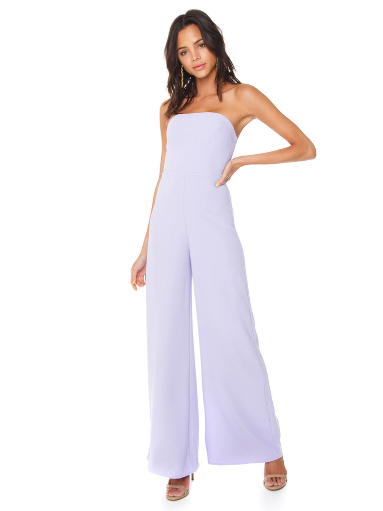 Women wearing a jumpsuit rental from Amanda Uprichard called Sweetheart Whisper Jumpsuit