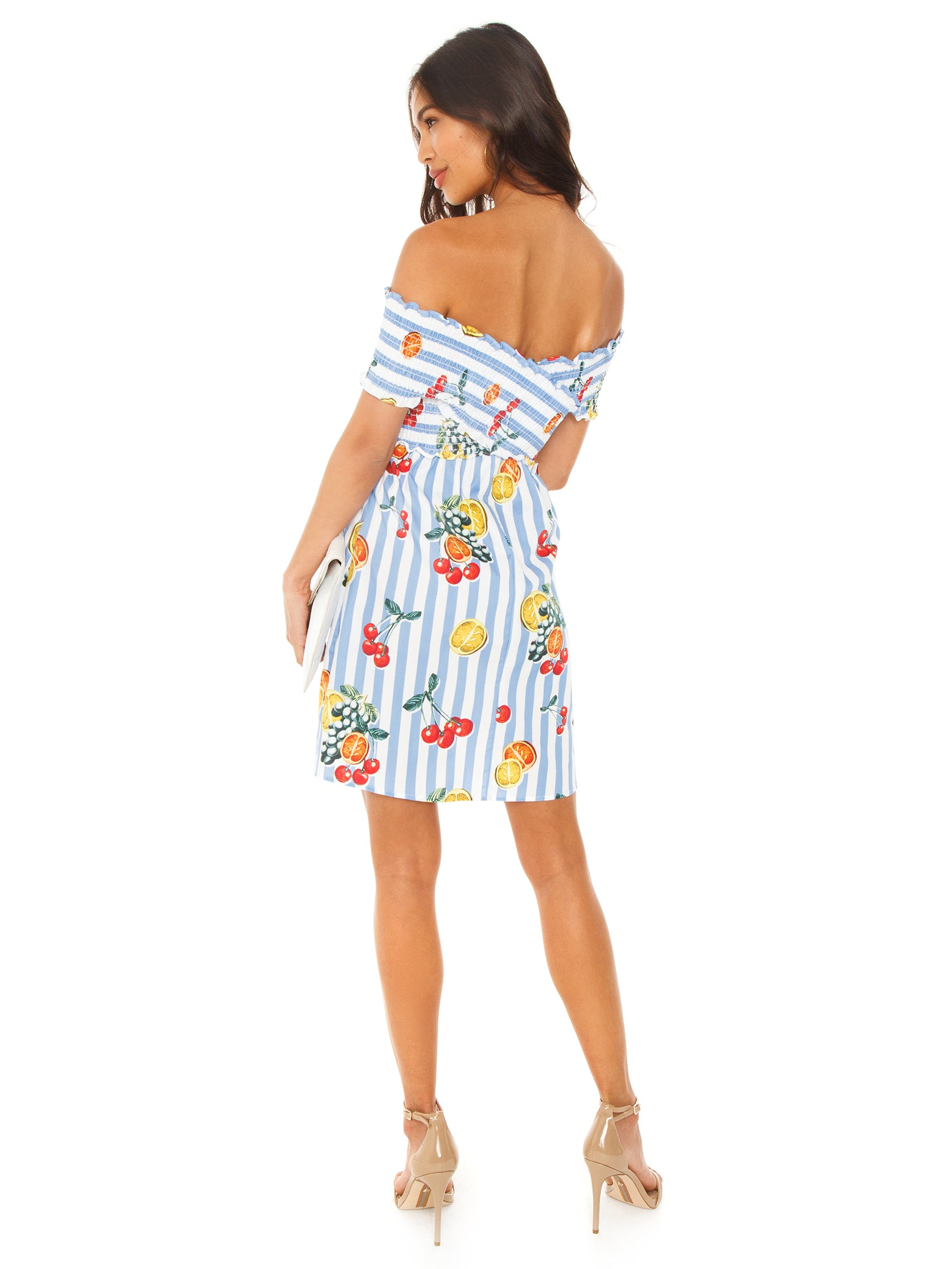 Women wearing a dress rental from Show Me Your Mumu called Mandy Smocked Dress