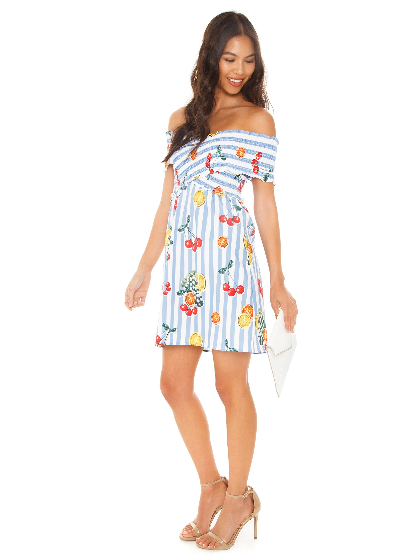 Woman wearing a dress rental from Show Me Your Mumu called Mandy Smocked Dress