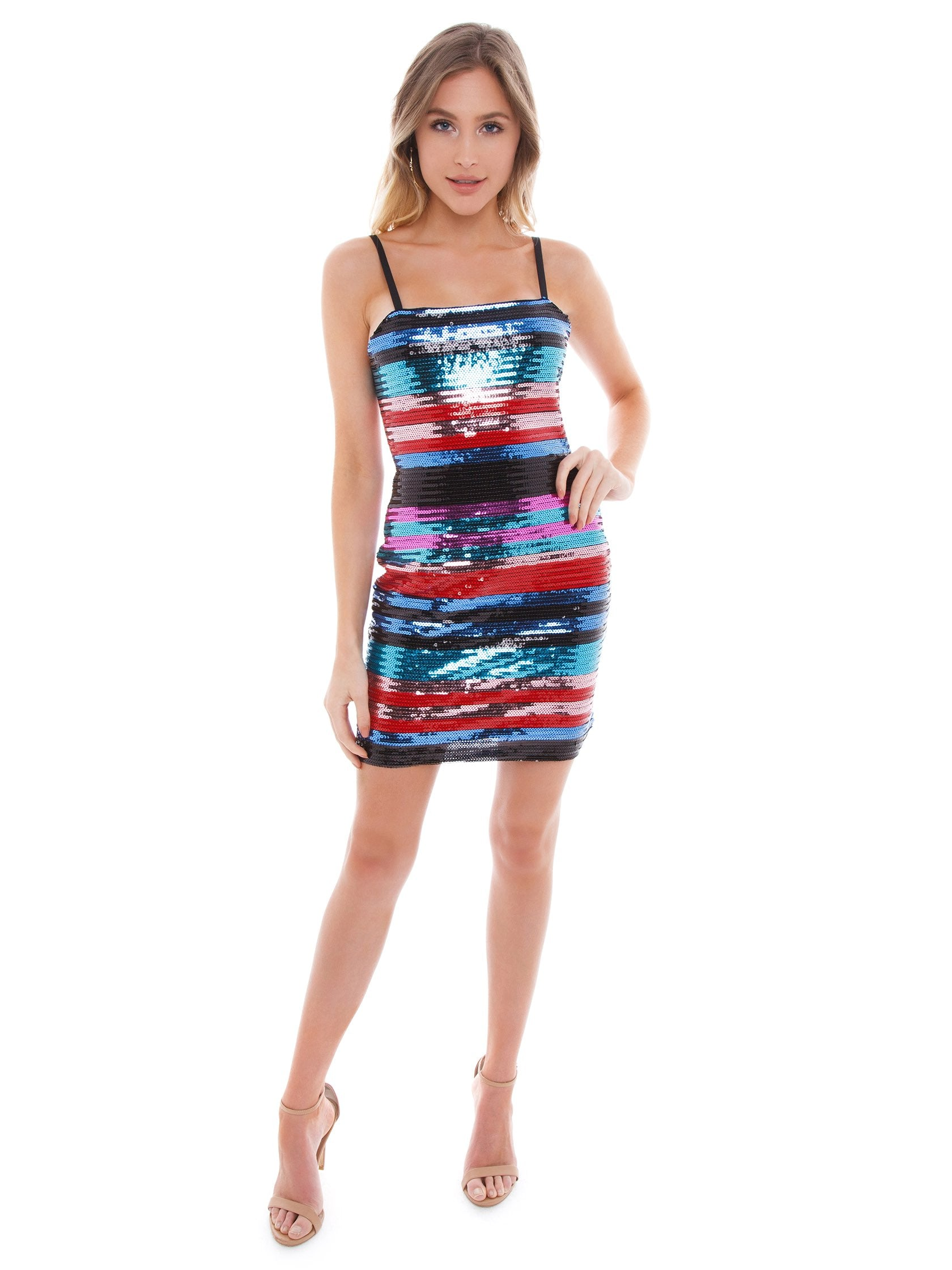 Girl outfit in a dress rental from WAYF called Manfi Stripe Sequin Dress