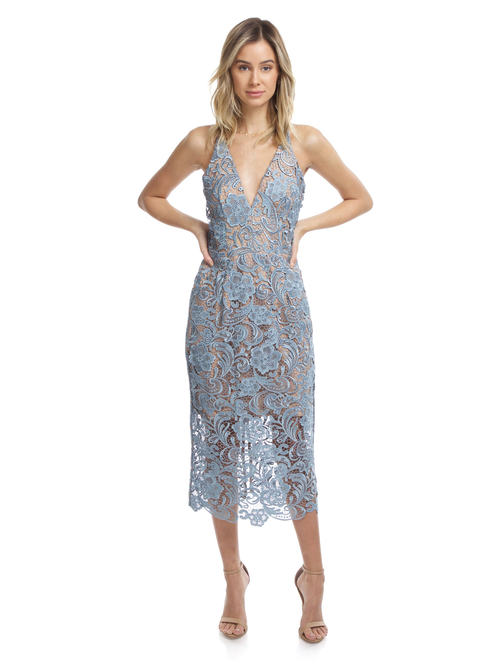 f4f8fcda Girl outfit in a dress rental from Dress the Population called Marie Lace  Midi Dress