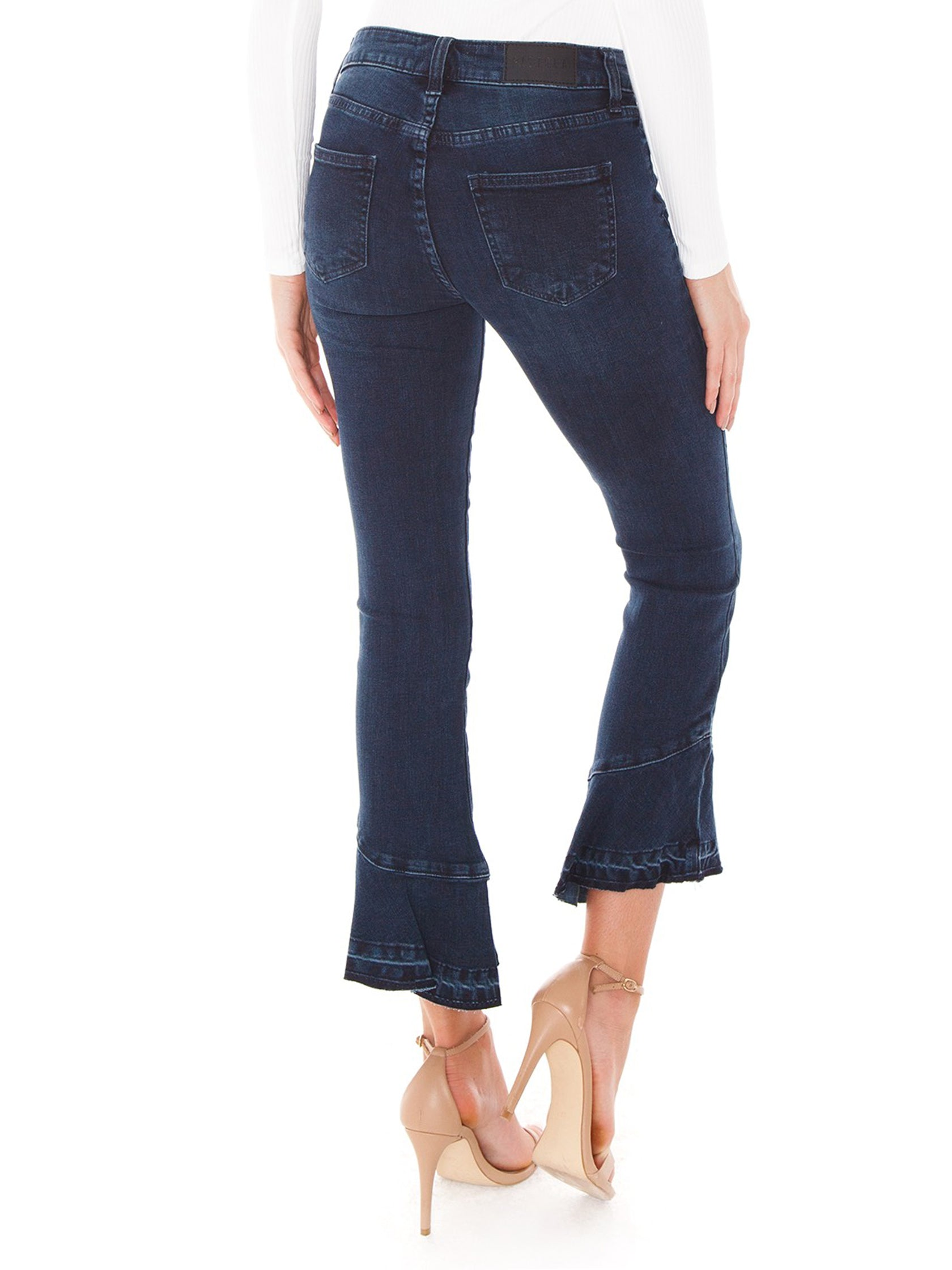 Women outfit in a denim rental from PISTOLA called Marina Mide Rise Flounce Hem Jeans